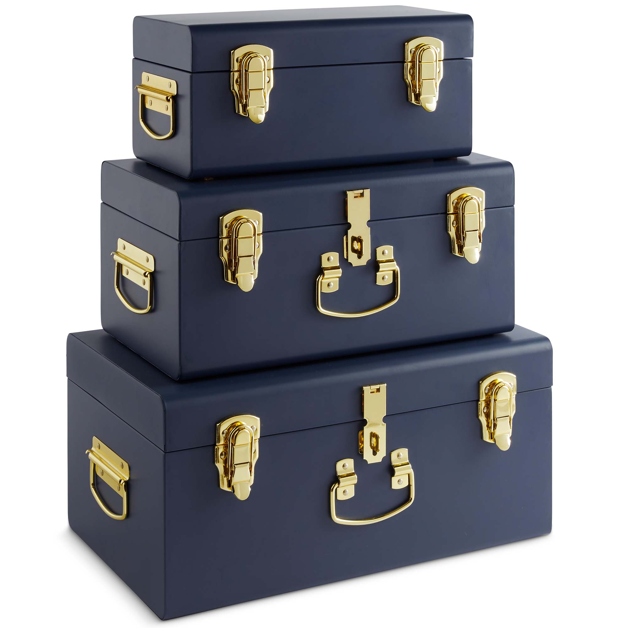 beautify storage trunks set of 3 navy for bedroom living