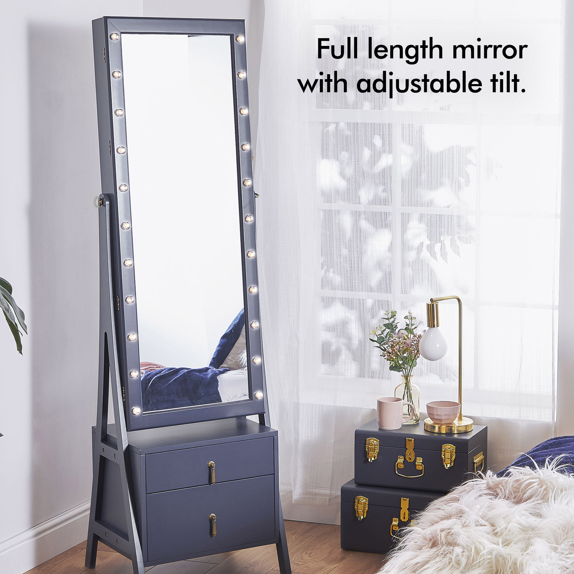 Beautify Led Full Length Mirror Free Standing Storage