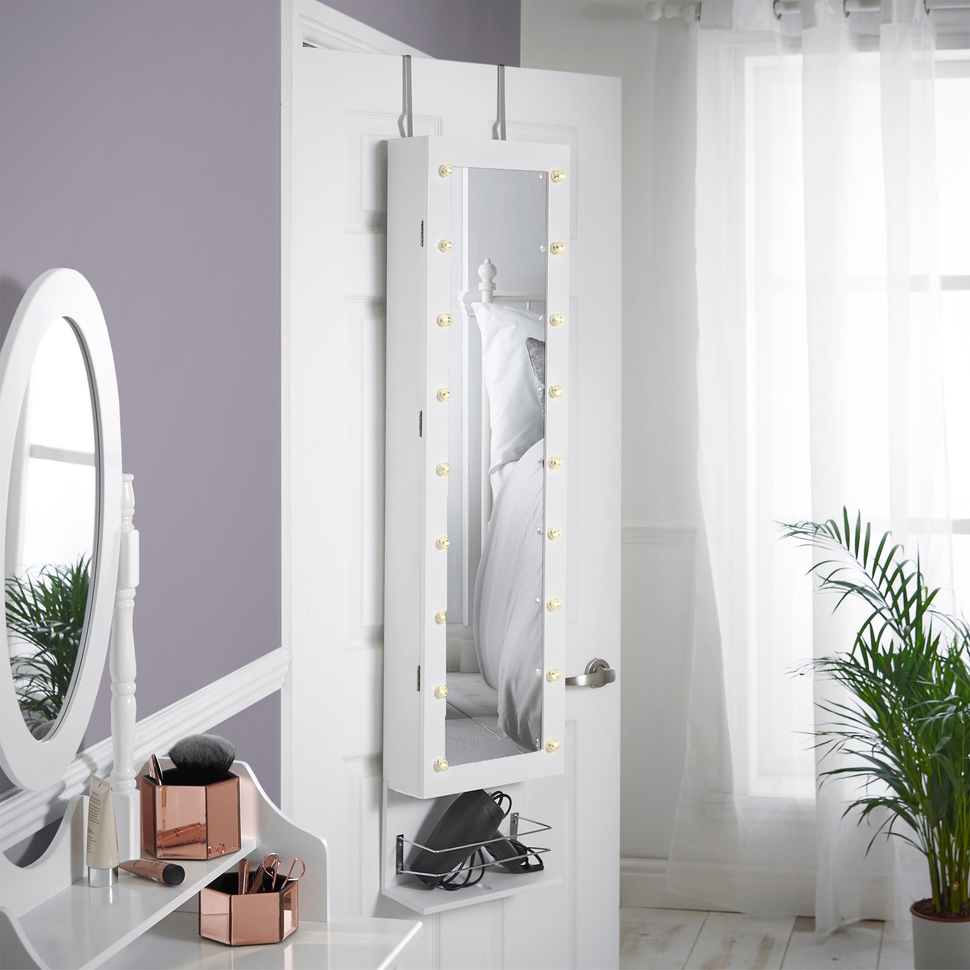 Beautify White Led Wall Mounted Armoire With Mirror Shelf