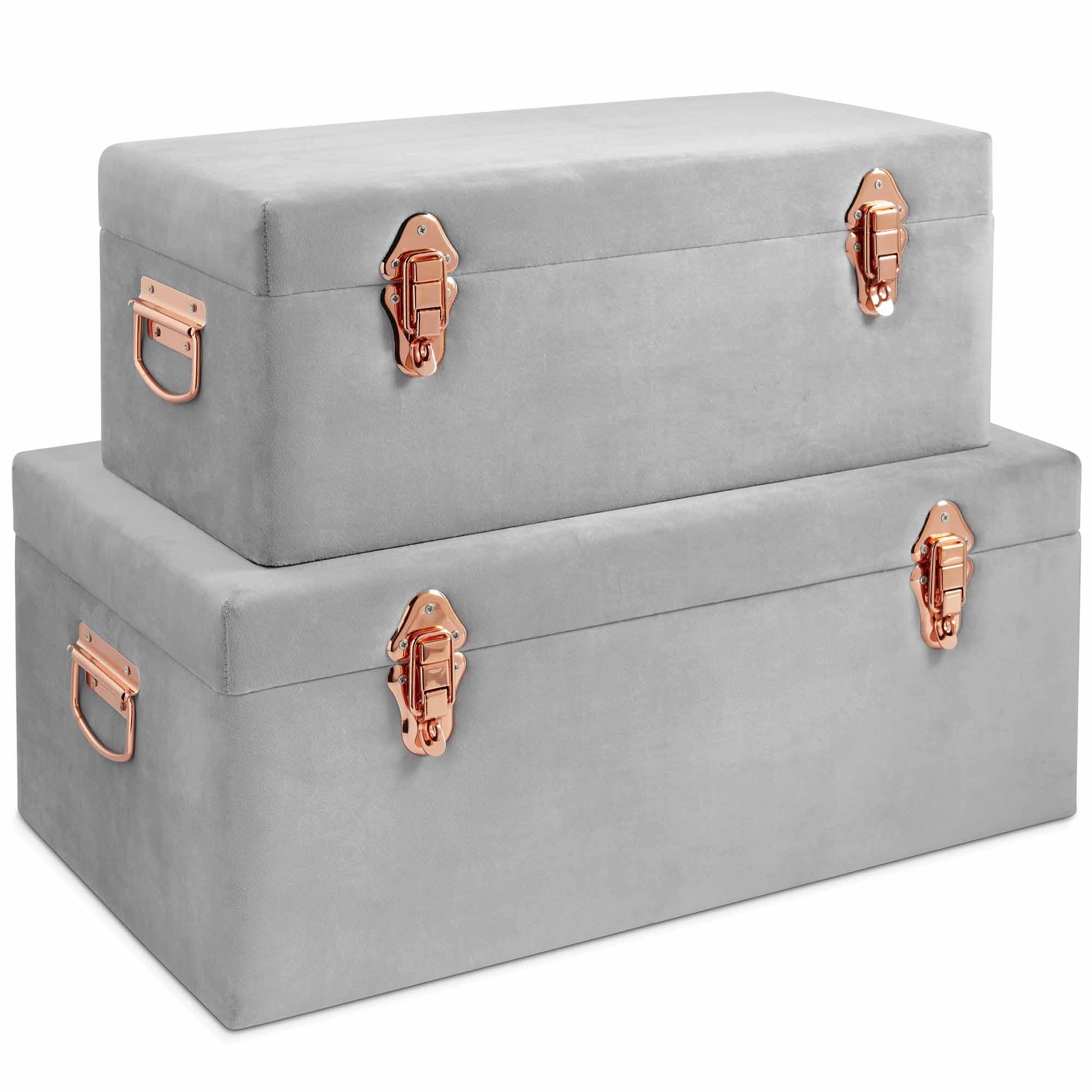 beautify storage trunks set of 2 chests grey velvet rose