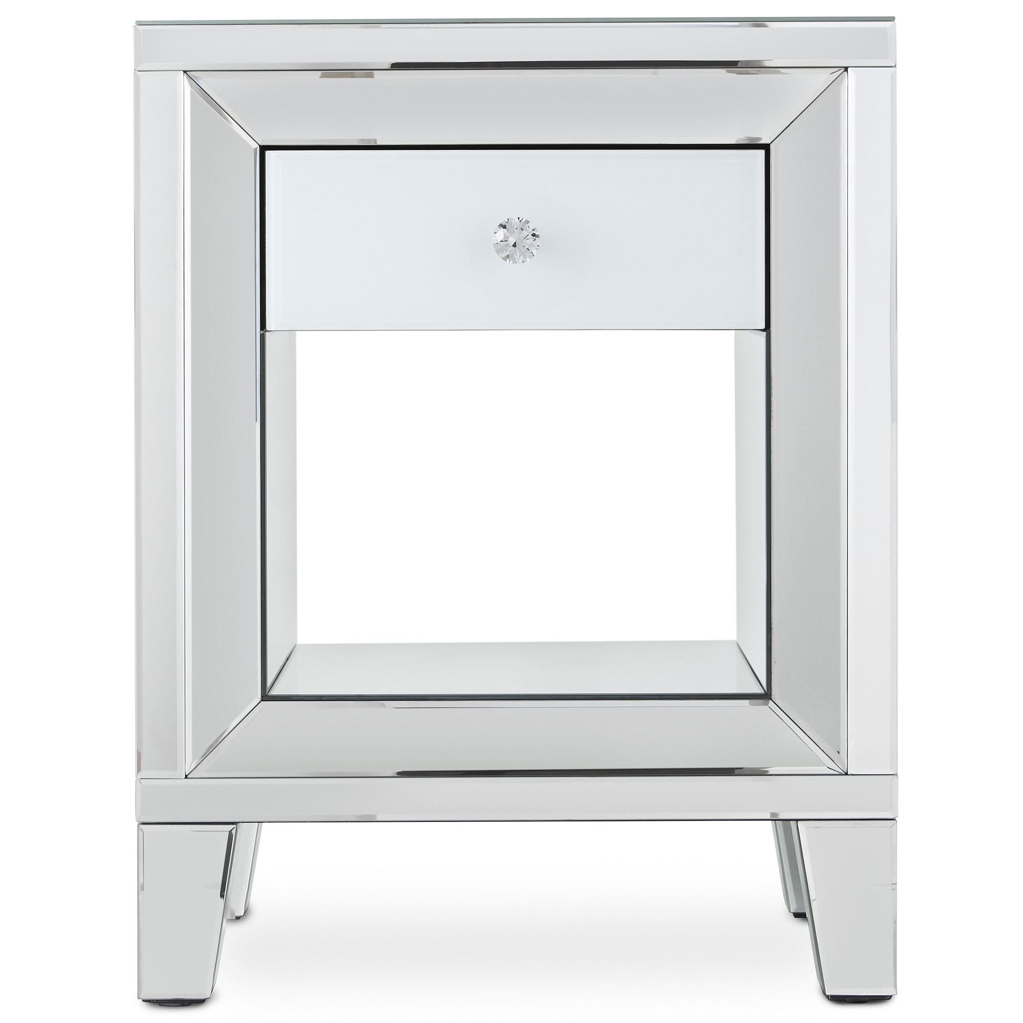 Sentinel Beautify Mirrored White Furniture Stool Dressing Table Or Bedside