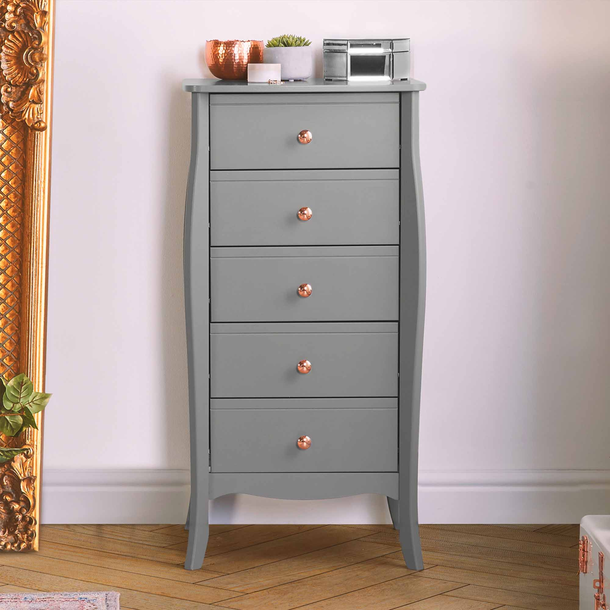 Beautify Grey 5 Drawer Narrow Chest Of Drawers Vintage
