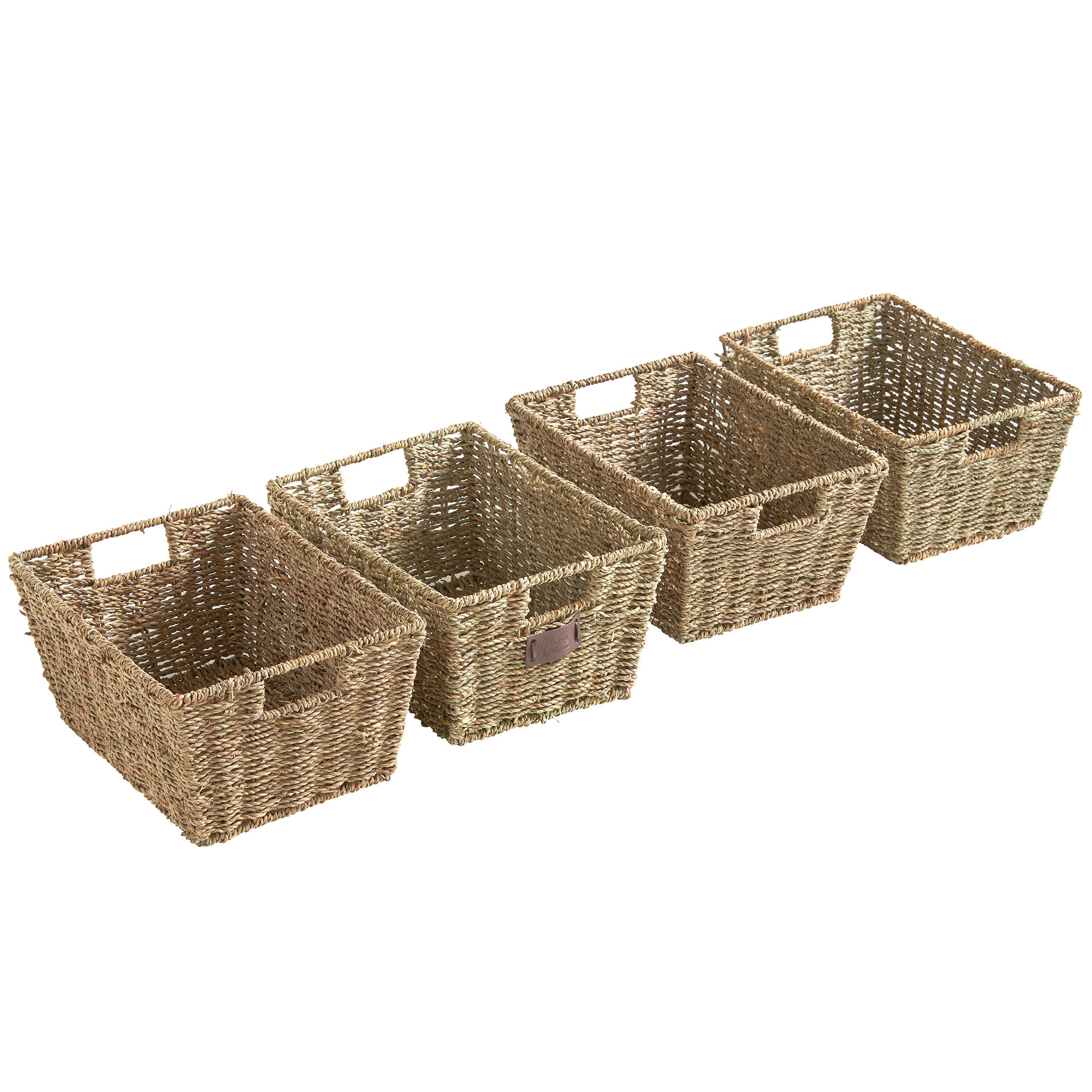VonHaus Set of 4 Seagrass Storage Organizer Baskets with Insert ...