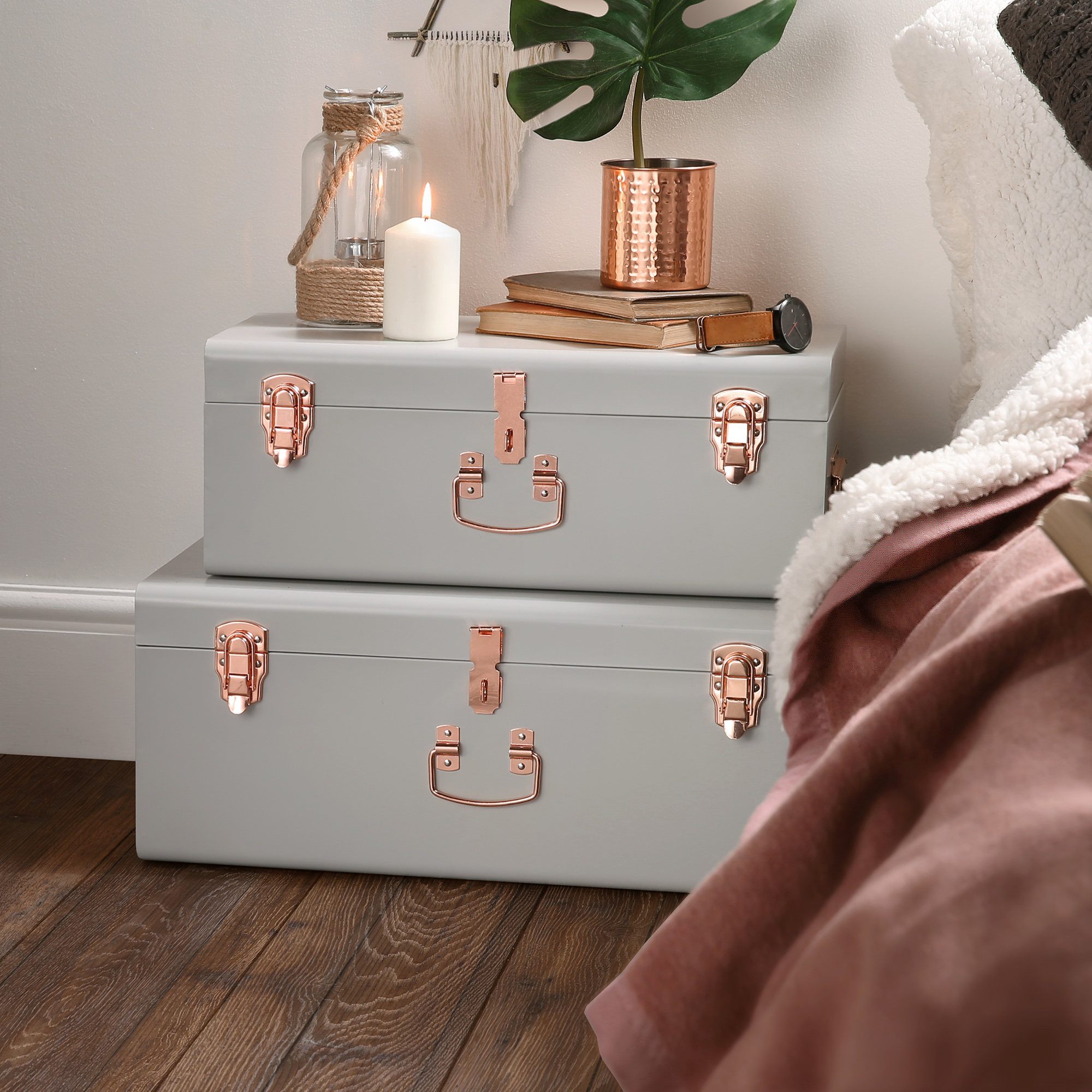 Sentinel Beautify Gray Vintage Style Steel Storage Trunk Set With Rose Gold  Handles   College Dorm