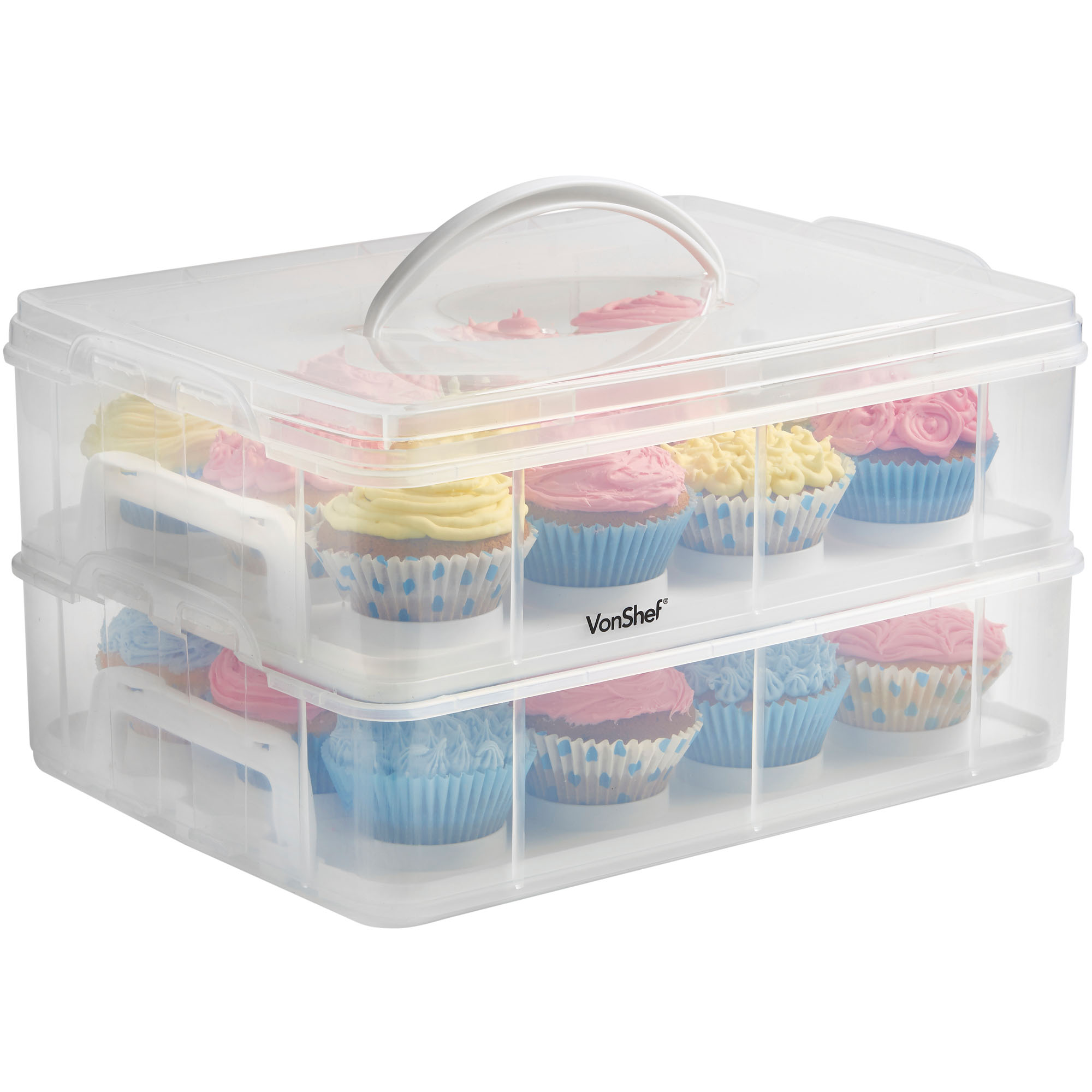 Cupcake Canisters For Kitchen: VonShef 2 Tier Locking 24 Cupcake Holder Caddy & Cake