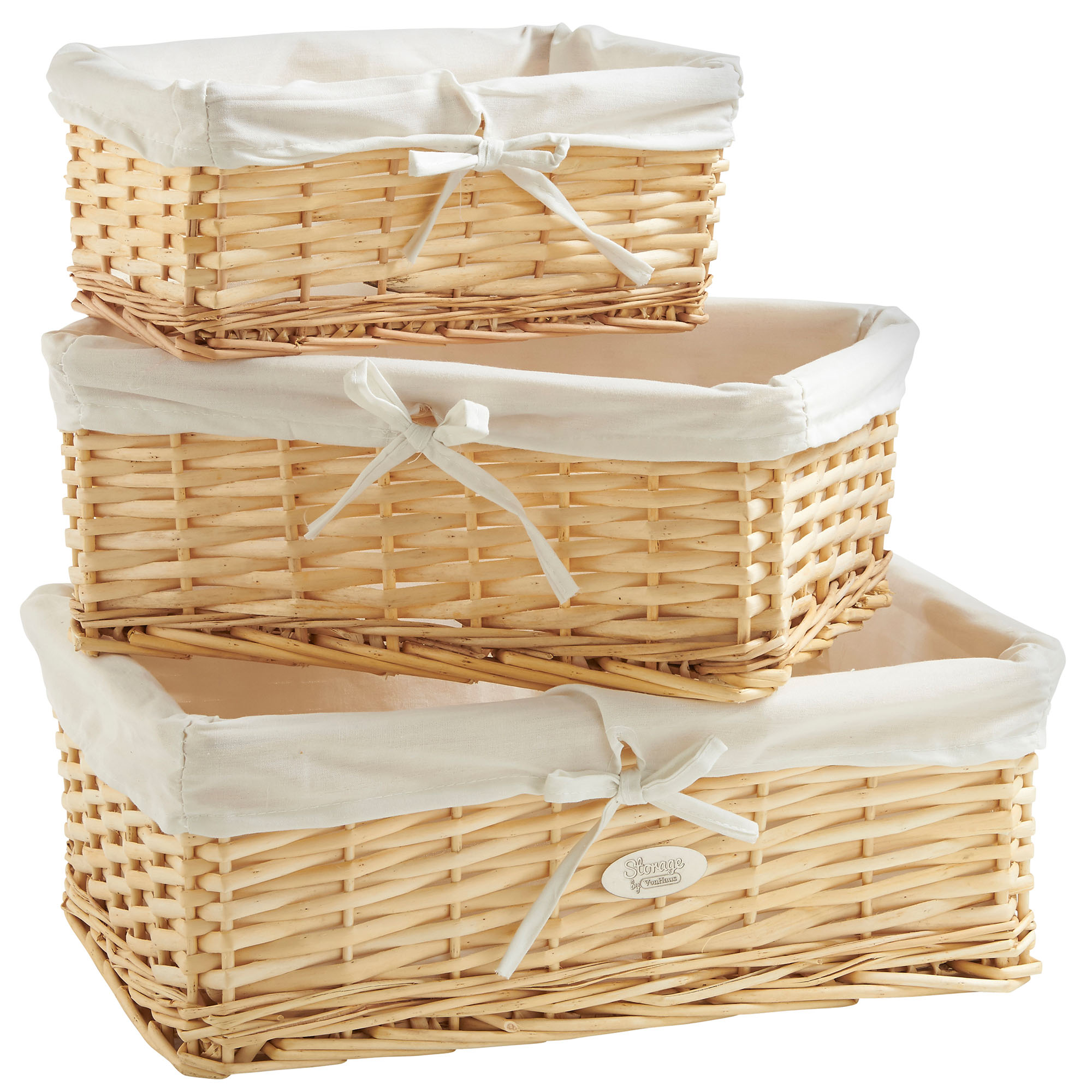 Sentinel VonHaus Set Of 3 Natural Wicker Baskets With Removable Washable  Lining