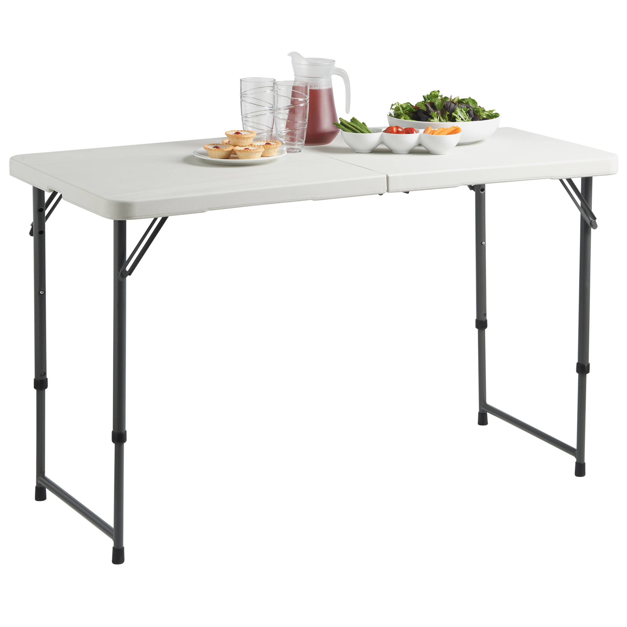 Sentinel VonHaus 4ft Folding Table With Adjustable Height Utility Table For  Picnic / Garden / Tailgate /