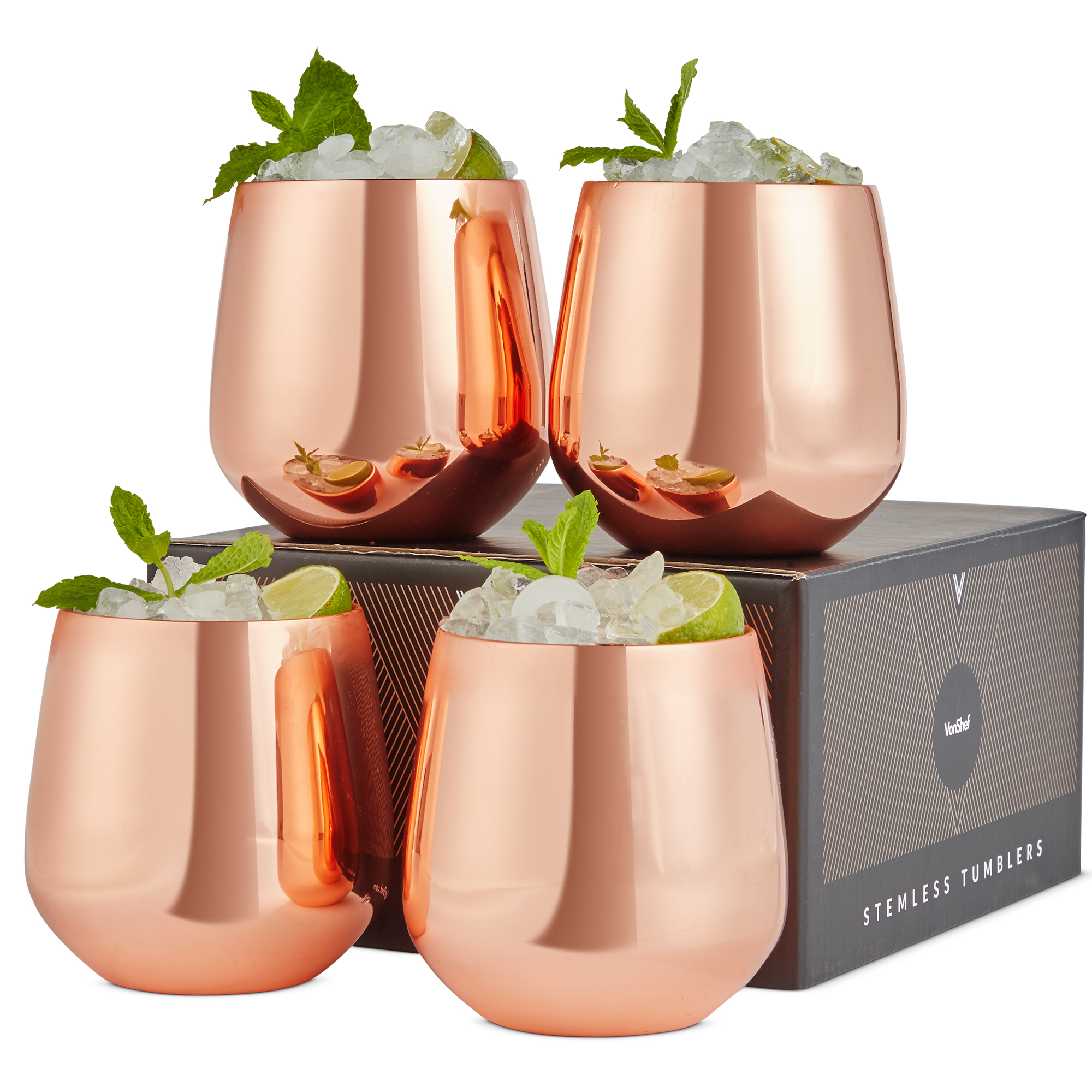 Details About Vonshef Set Of 4 Copper Stemless Wine Glasses 12oz Stainless Steel With Gift Box