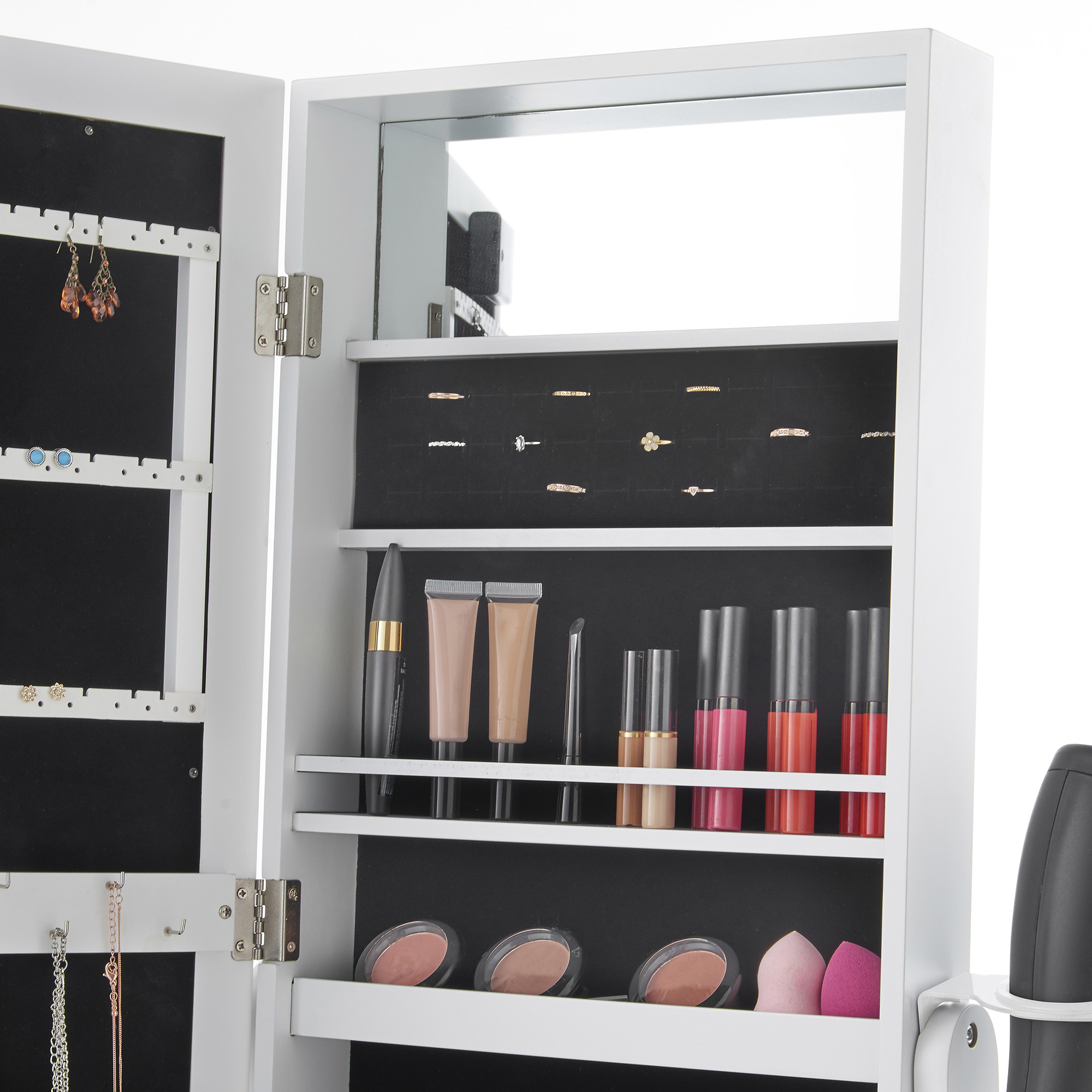 Beautify Led Lighted Mirrored Jewelry Amp Makeup Cabinet