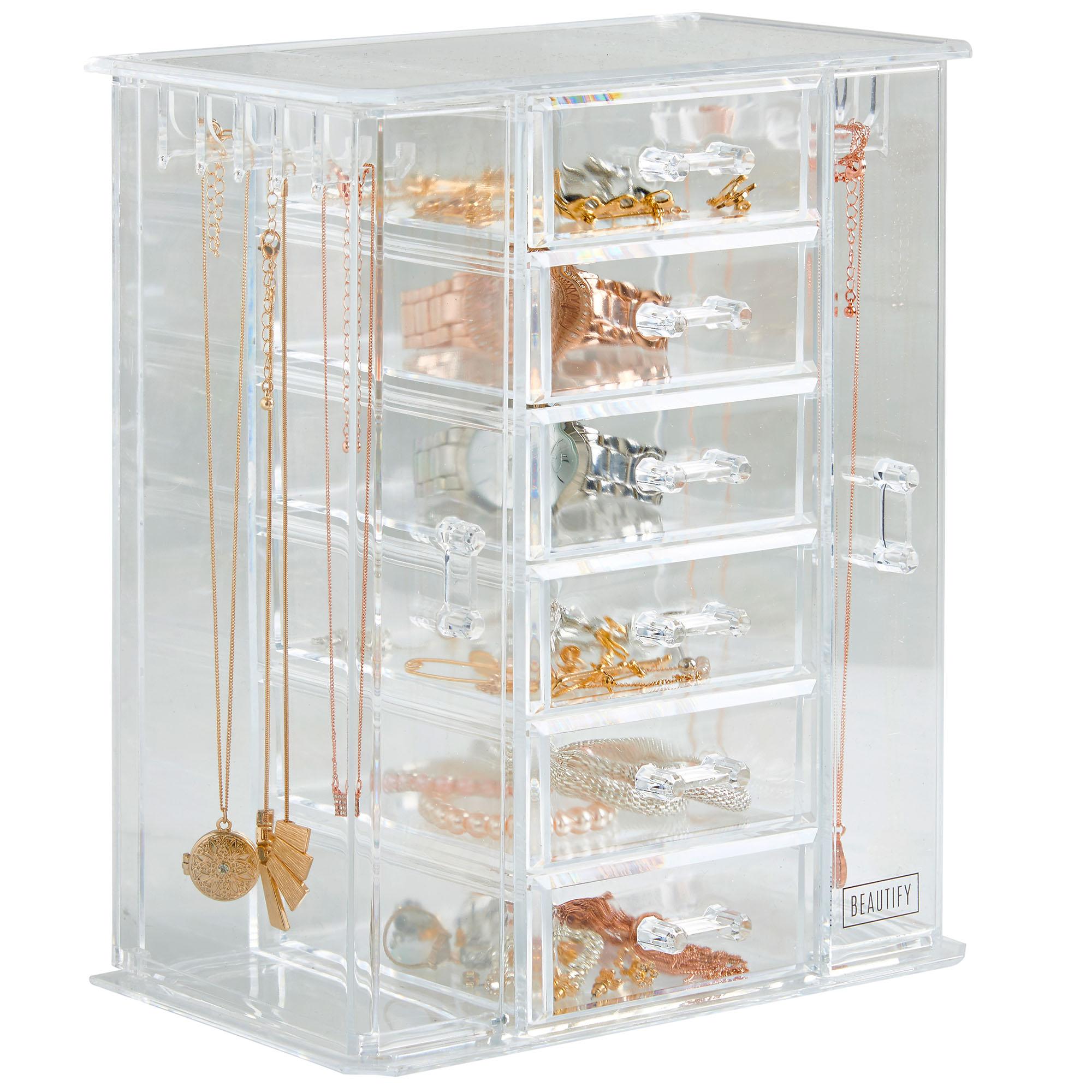 Beautify Clear Acrylic Jewelry Organizer Storage Box With 6 Drawers 5060192526769 Ebay
