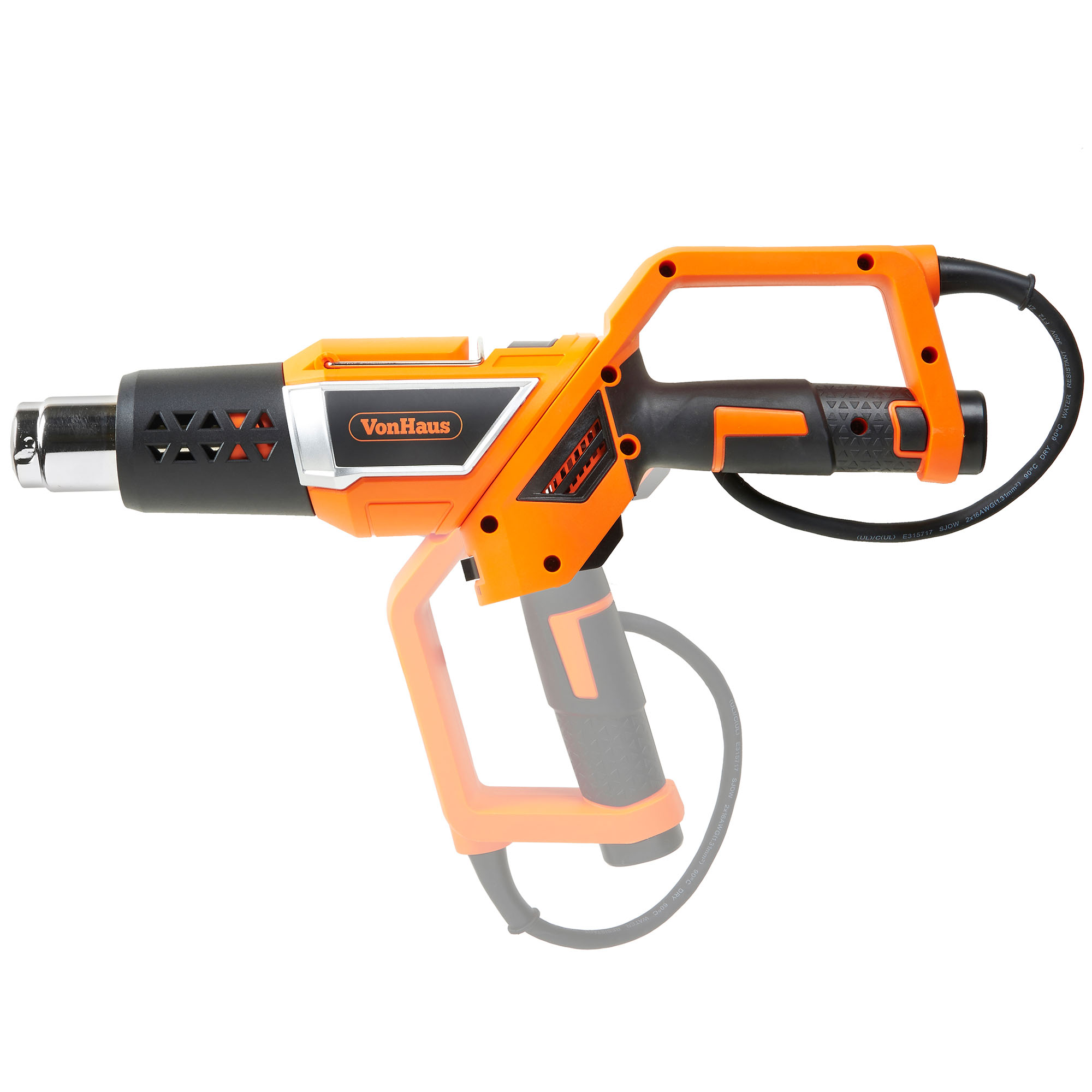 VonHaus Professional Electric Heat Gun Set with Twistable Nozzle, 3 Temperature Settings and 5 Accessories for Heating BBQ Grills, PVC Shrink, Stripping Paint, Soldering Pipes