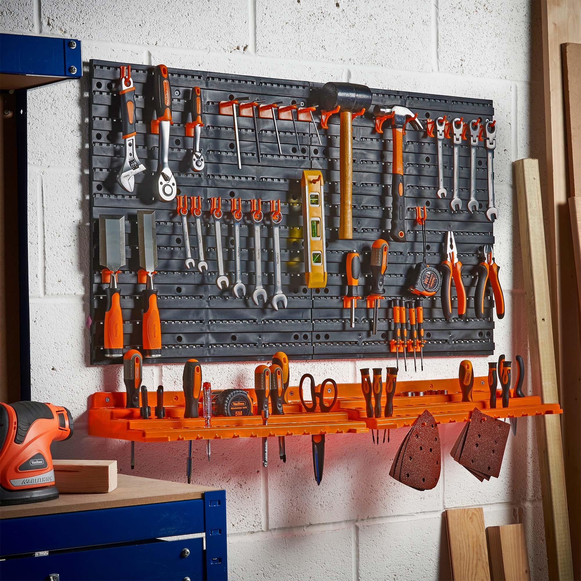 Vonhaus 50 Piece Pegboard Amp Shelf Wall Mounted Panel Set