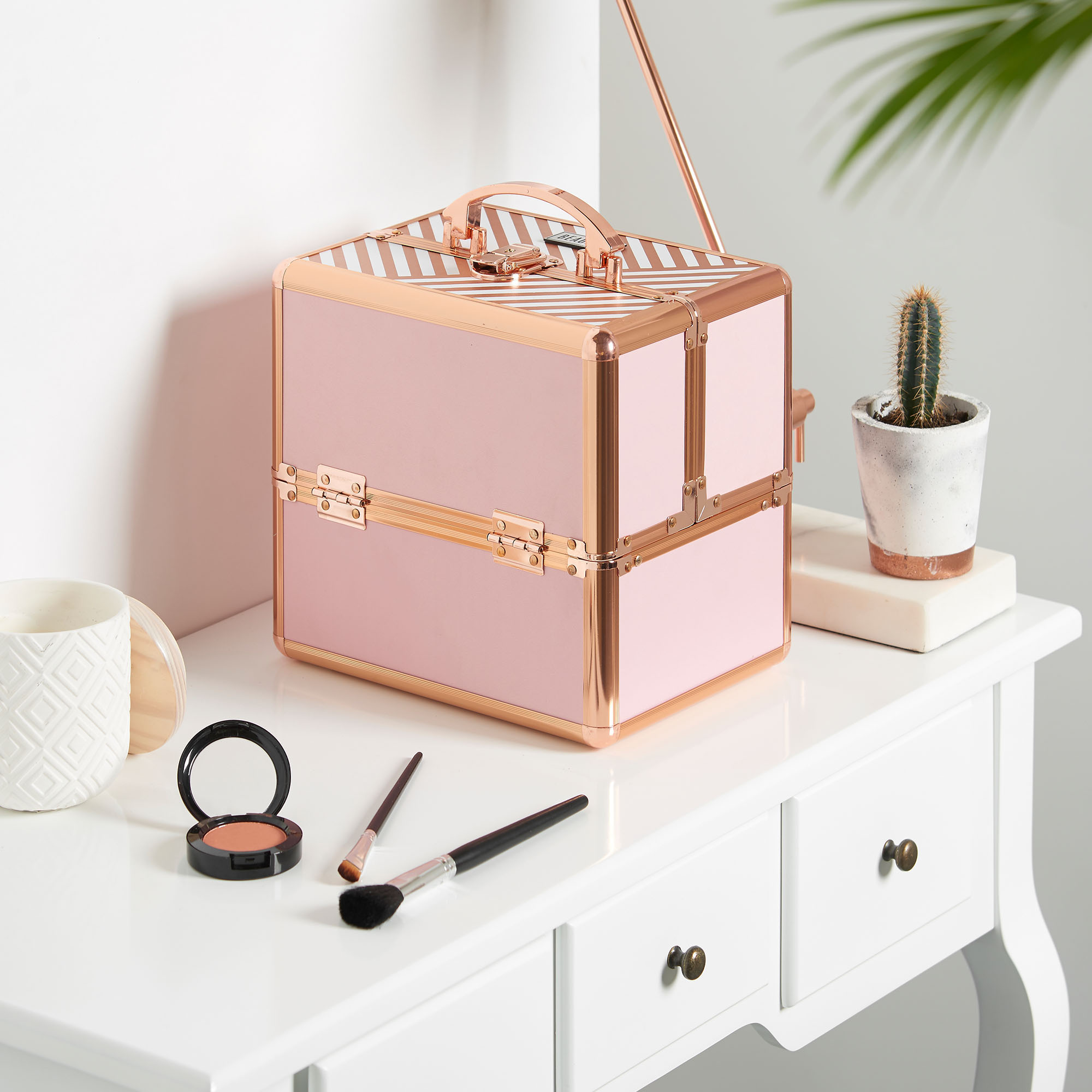 """Beautify Pink Rose Gold 10"""" Train Case Cosmetic Makeup ..."""