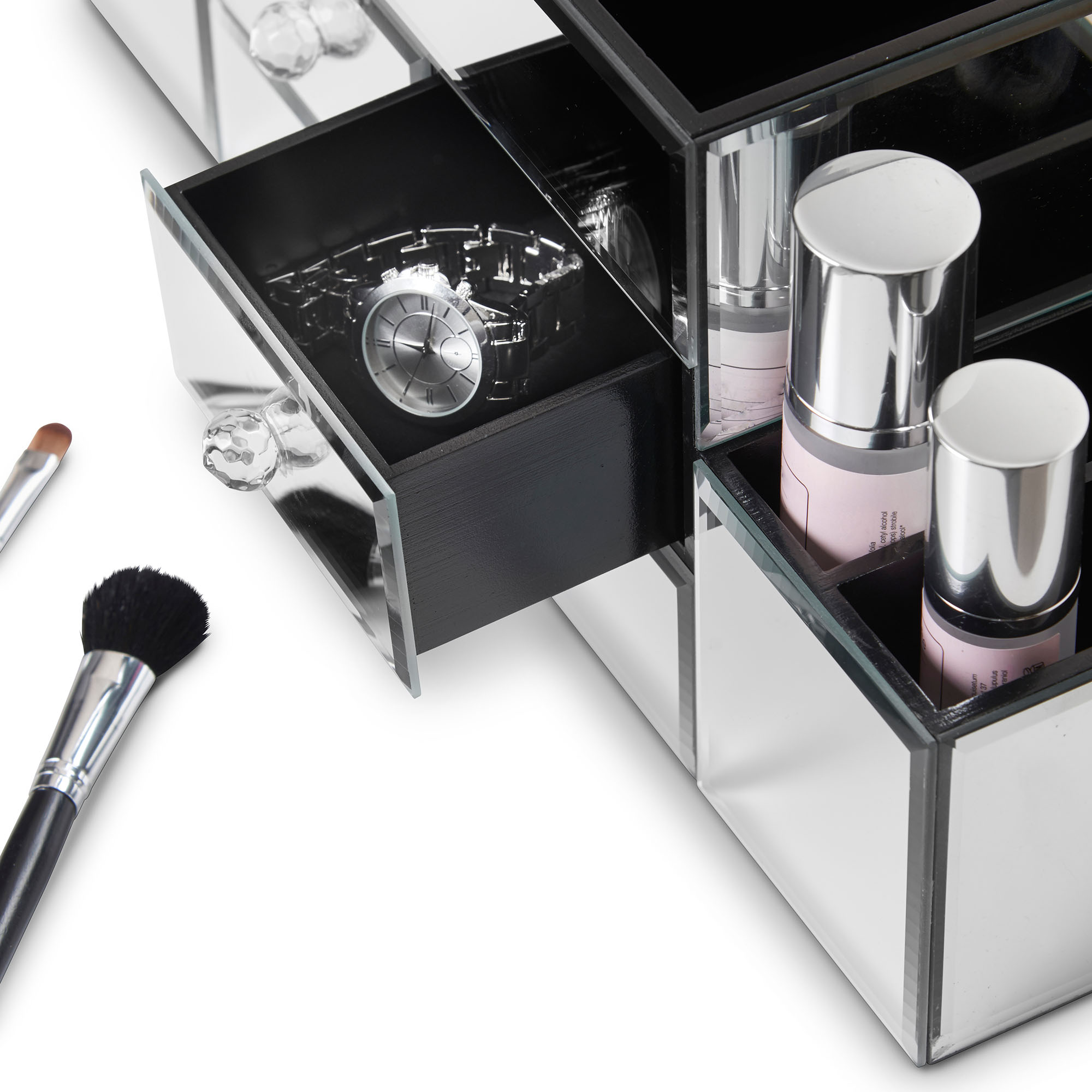 Beautify Large Mirrored Jewelry Box Cosmetic Makeup