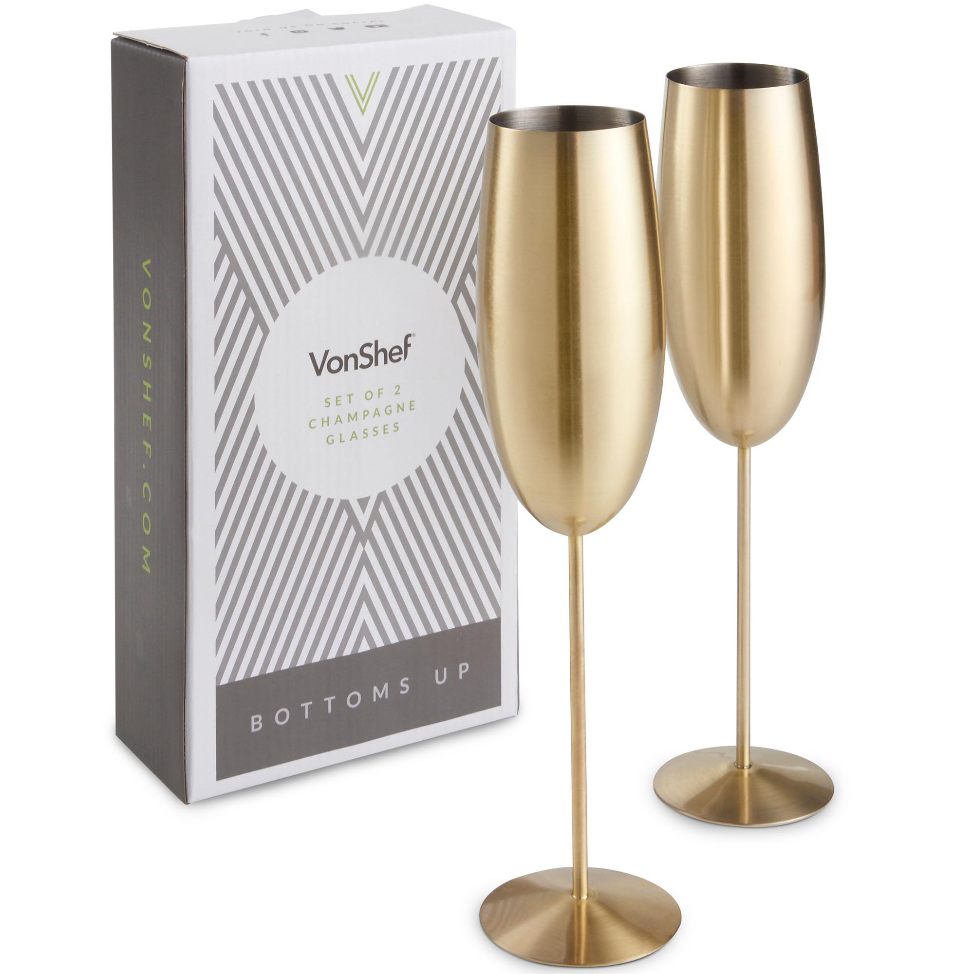 Sentinel Vonshef Champagne Flutes Gles Brushed Gold Shatterproof Stainless Steel Set Of 2