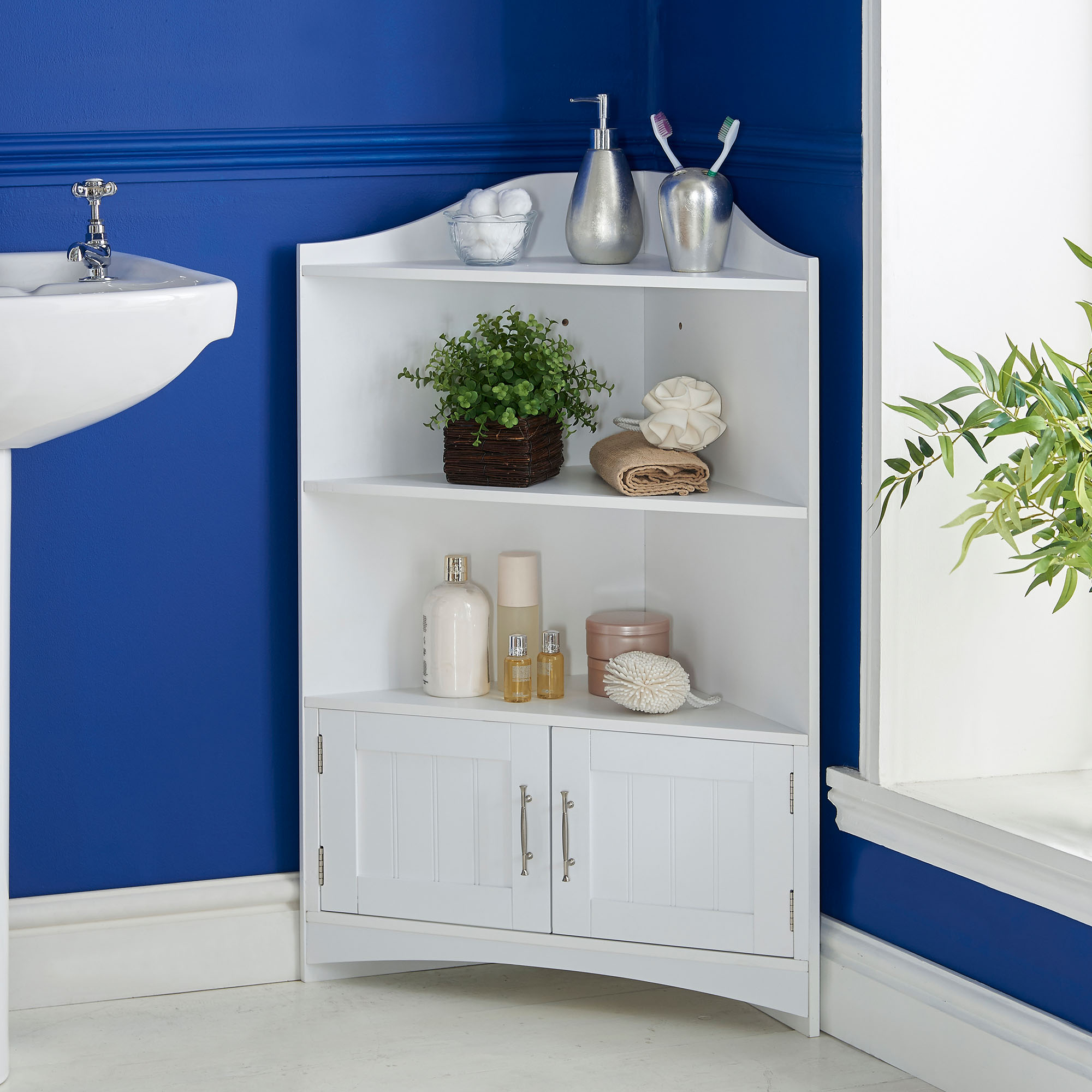 bathroom corner storage cabinets. Sentinel VonHaus Bathroom Corner Storage Cabinet Organizer With Chrome Handles \u0026 2 Doors Cabinets E