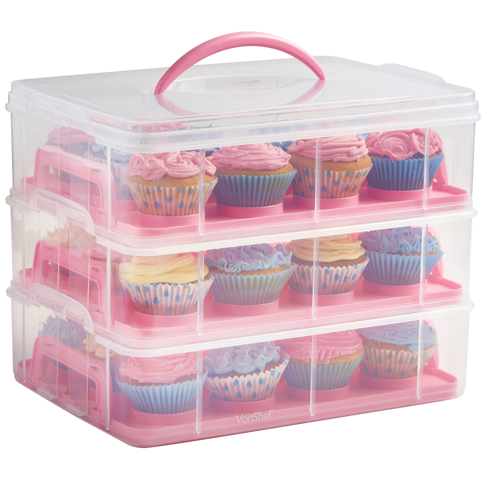 Sentinel VonShef Snap and Stack Pink 3 Tier Cupcake Holder u0026 Cake Carrier Container  sc 1 st  eBay : 3 tier plastic storage boxes  - Aquiesqueretaro.Com