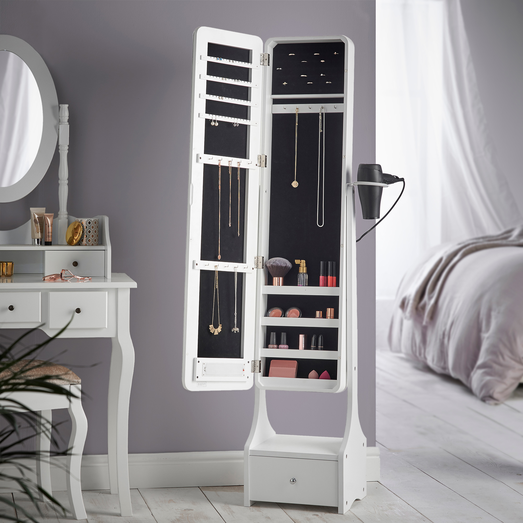 Beautify Mirrored Jewelry Cabinet LED Touchscreen Armoire Standing