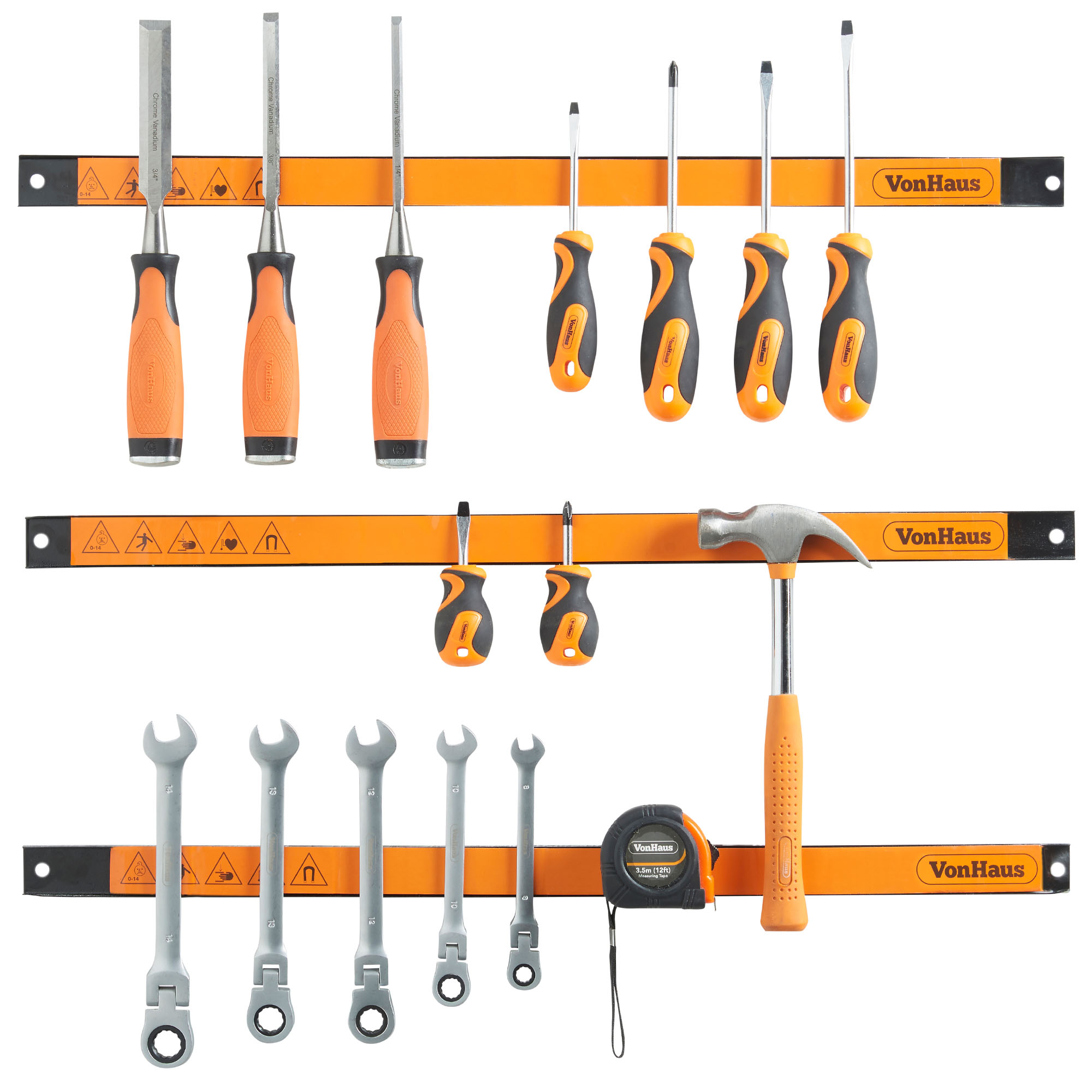 "VonHaus 3 X 24"" Piece Magnetic Tool Holder Strip Racks - Extra Large Organizer Bar Set Ideal for Garage and Workshops (Mounting Screws Included)"