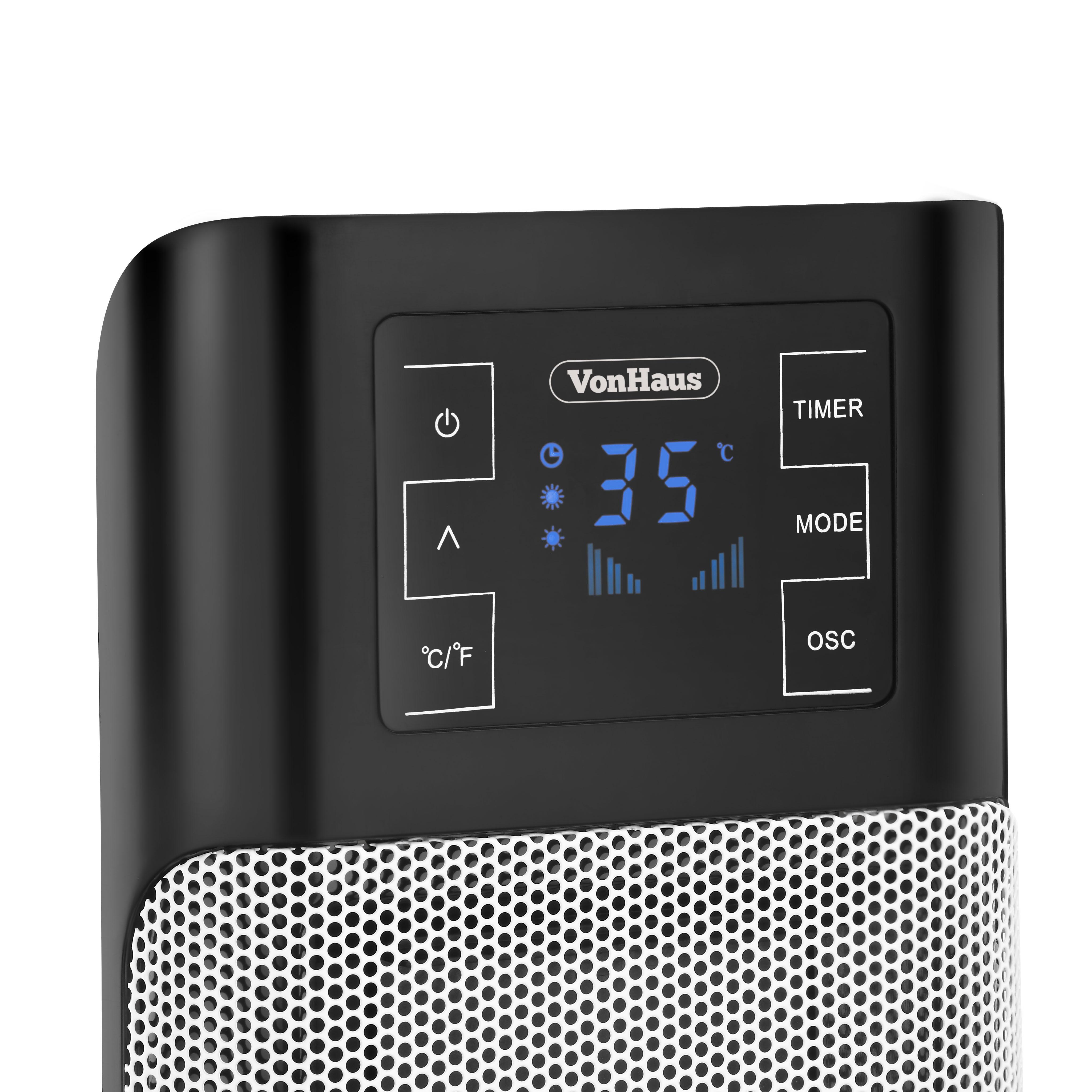 Vonhaus 1500w Digital Oscillating Ceramic Tower Fan Heater