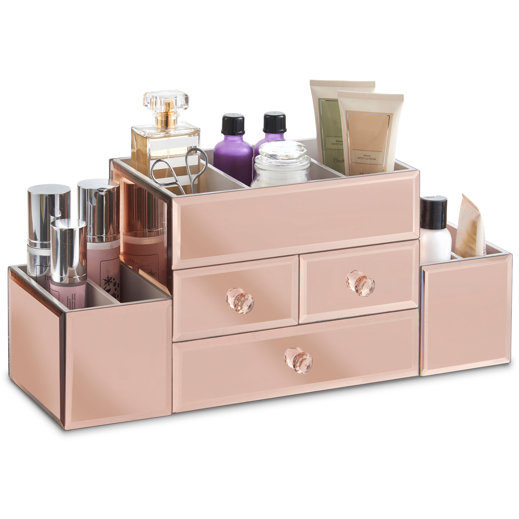 beautify large rose gold jewelry box cosmetic makeup. Black Bedroom Furniture Sets. Home Design Ideas