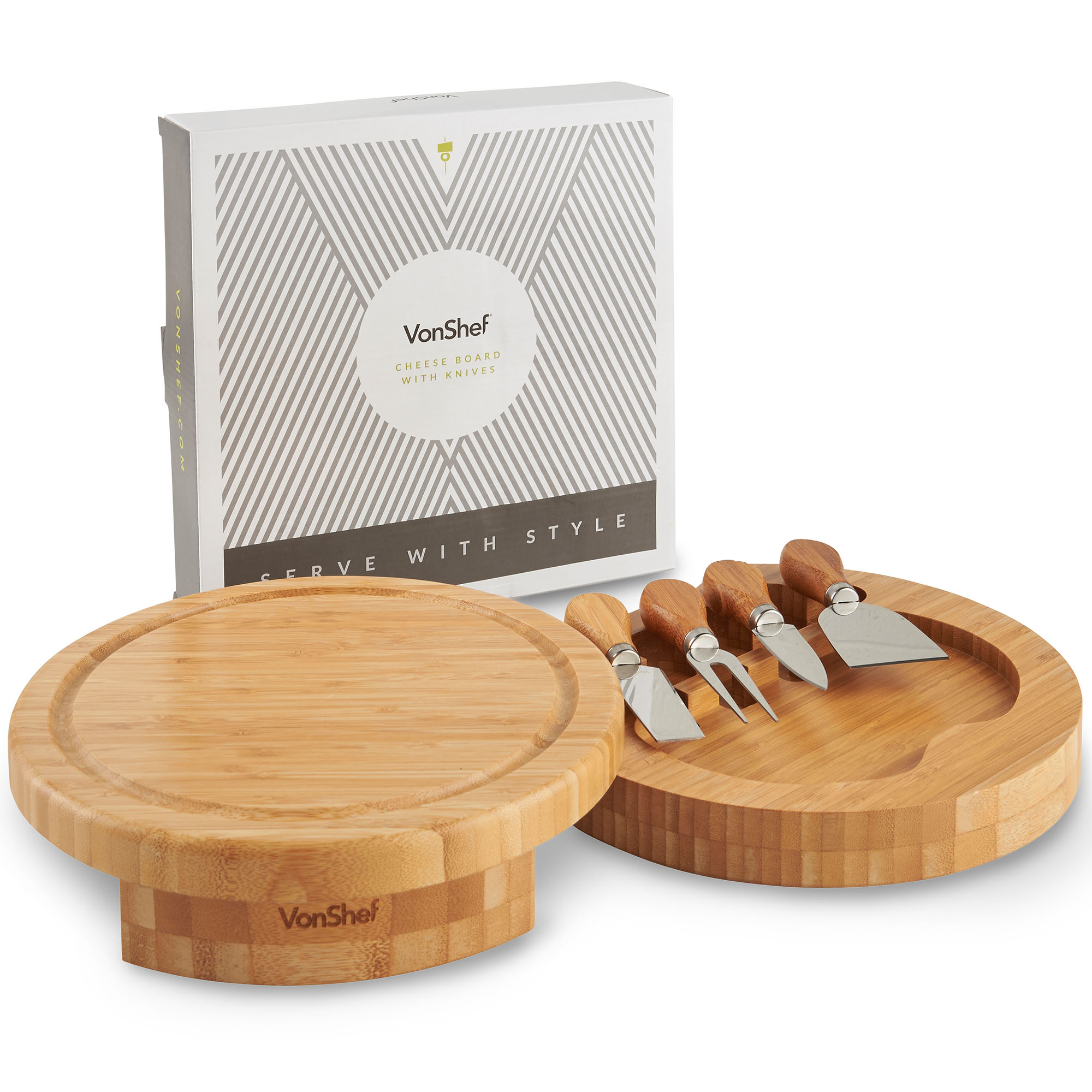 Vonshef 5 Piece Round Slide Out Wooden Bamboo Cheese Board