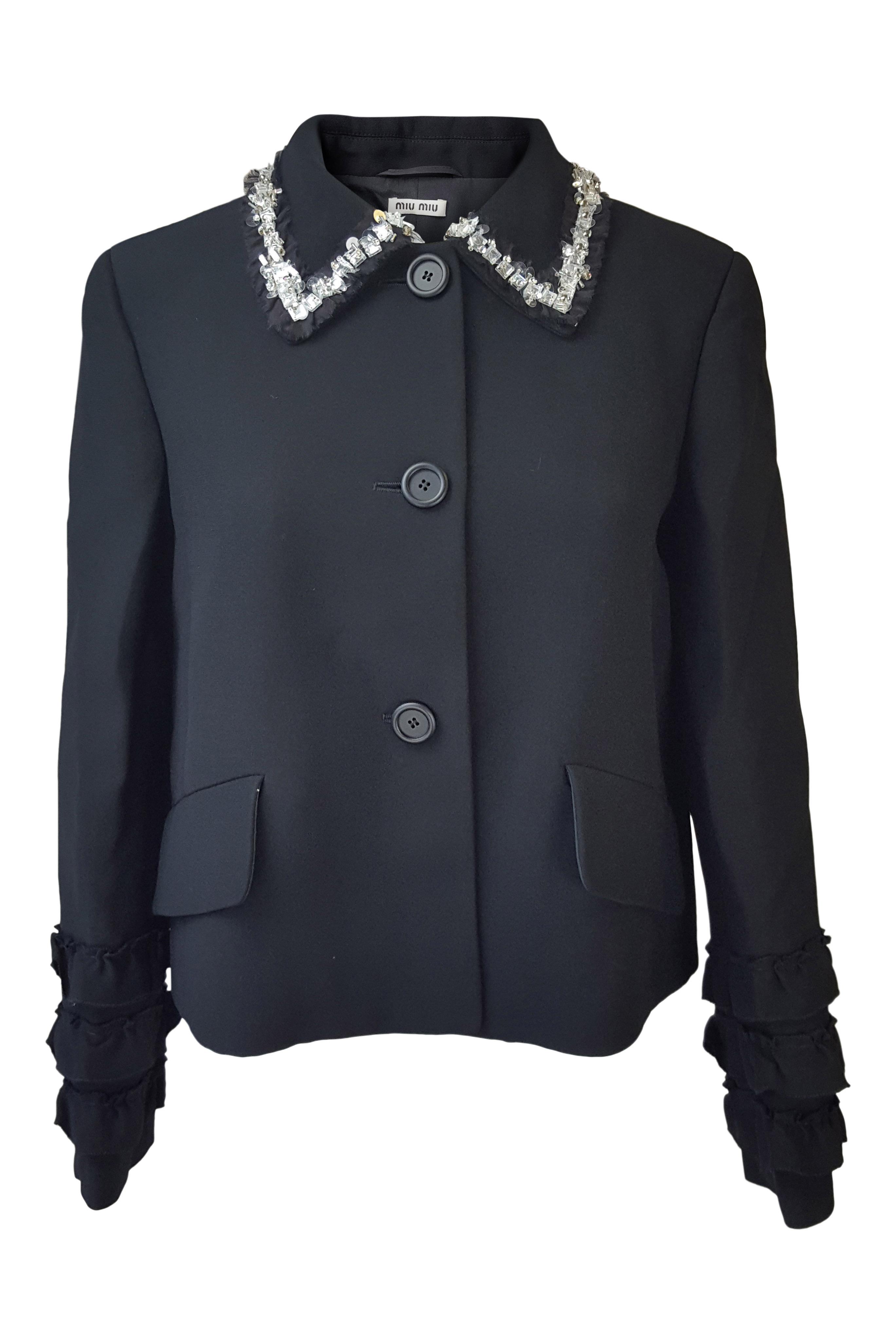 8671e37b37d12 Sentinel Thumbnail 1. Sentinel MIU MIU Black Wool Blend Embellished Collar  Ruffle Sleeved Jacket (IT 42)