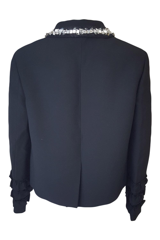 9e2e084416dc9 Sentinel MIU MIU Black Wool Blend Embellished Collar Ruffle Sleeved Jacket  (IT 42). Sentinel Thumbnail 4
