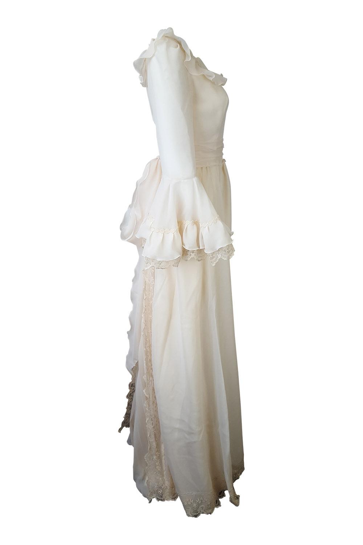 HARRODS* VINTAGE IVORY COTTON BLEND WEDDING DRESS (UK 8) | eBay
