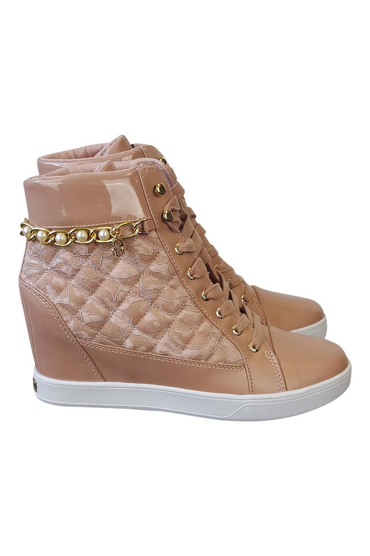 GUESS Rosa QUARANTA PIZZO Tacco Nascosto Zeppa Sneaker 39