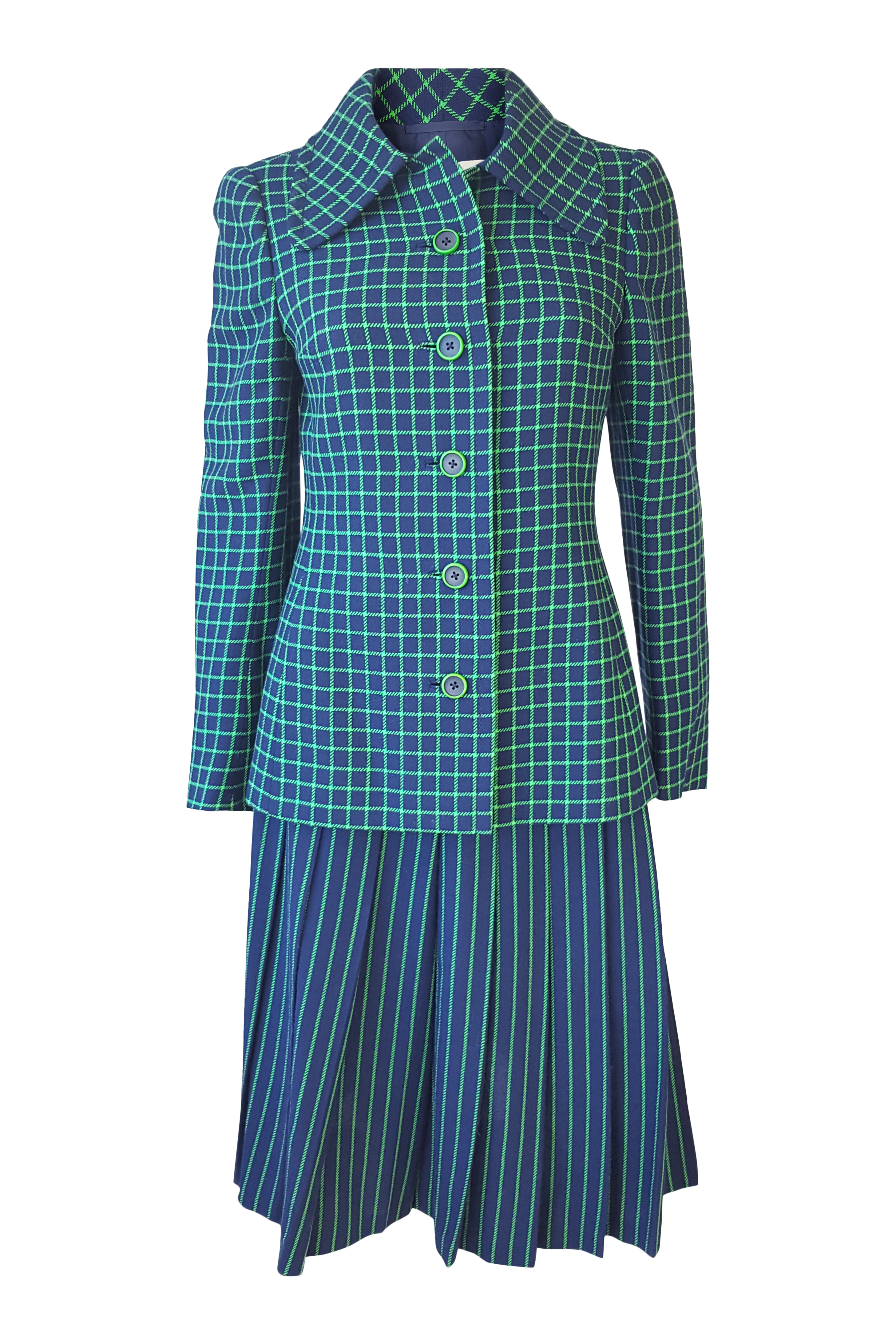 e505455fdd31 Sentinel CHRISTIAN DIOR London Vintage Numbered Green Blue Wool Skirt Suit  (S M)