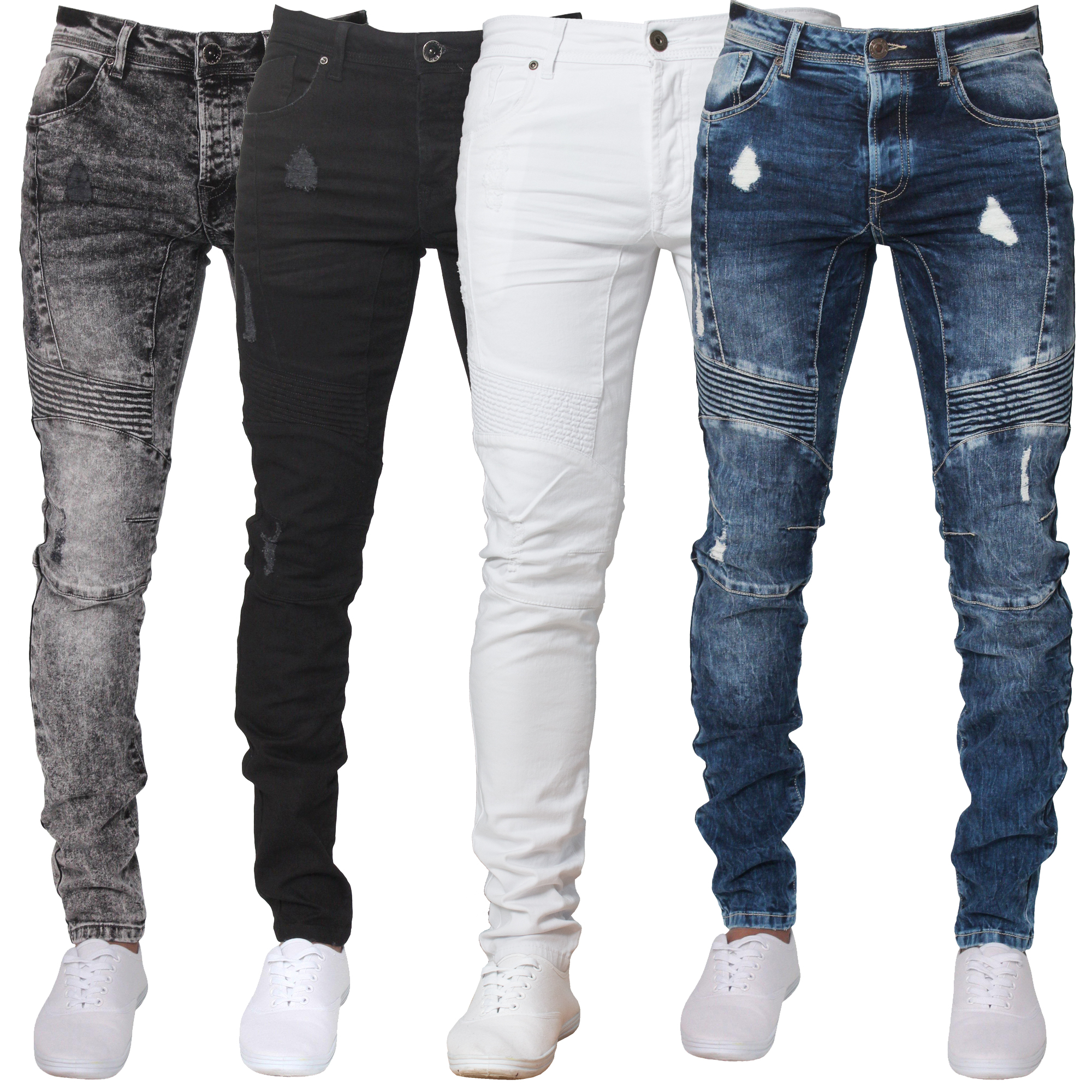Mens ENZO Super Skinny Ripped Biker Denim Jeans Blue Black ...