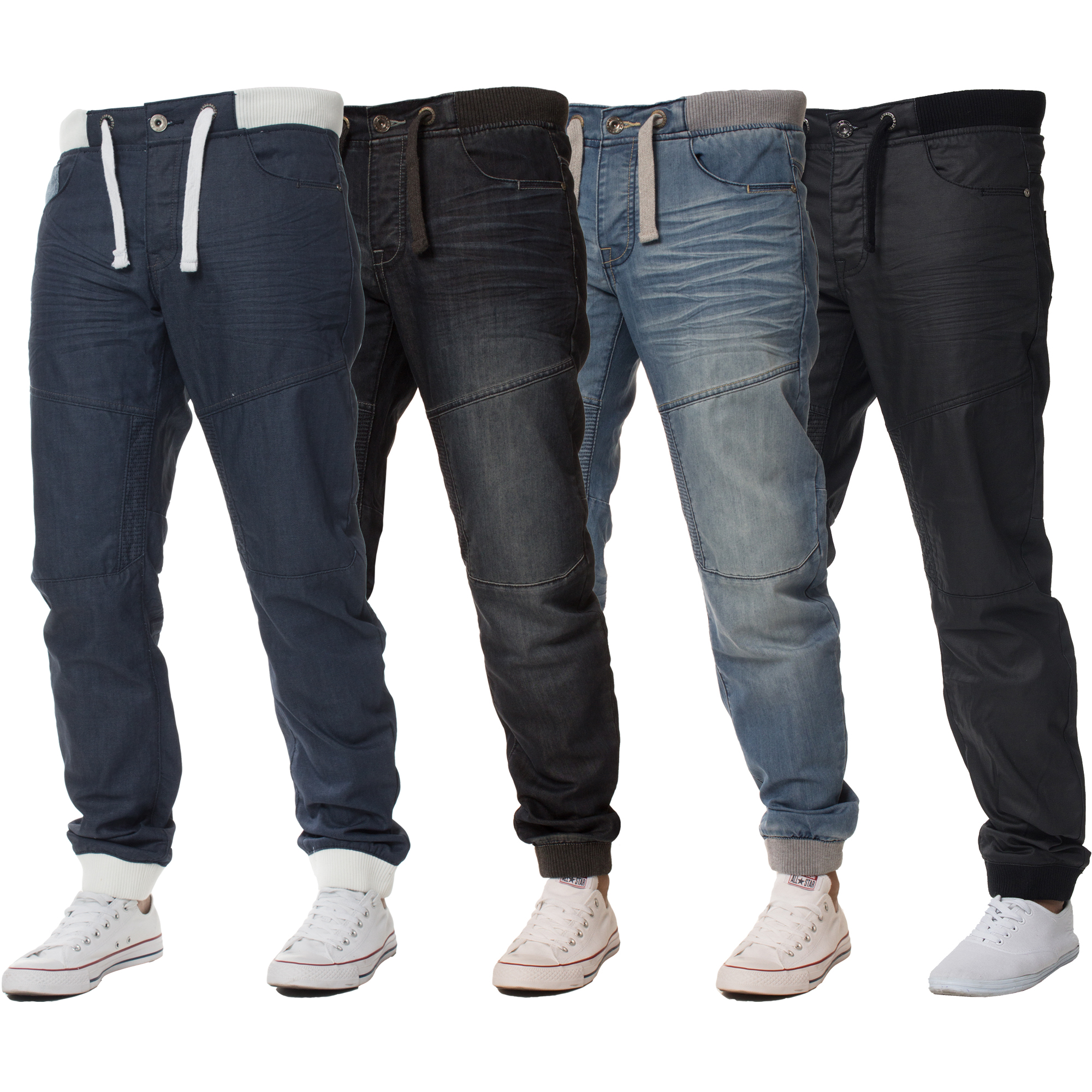 new mens enzo cuffed denim joggers jeans black fashion all big king sizes ebay. Black Bedroom Furniture Sets. Home Design Ideas