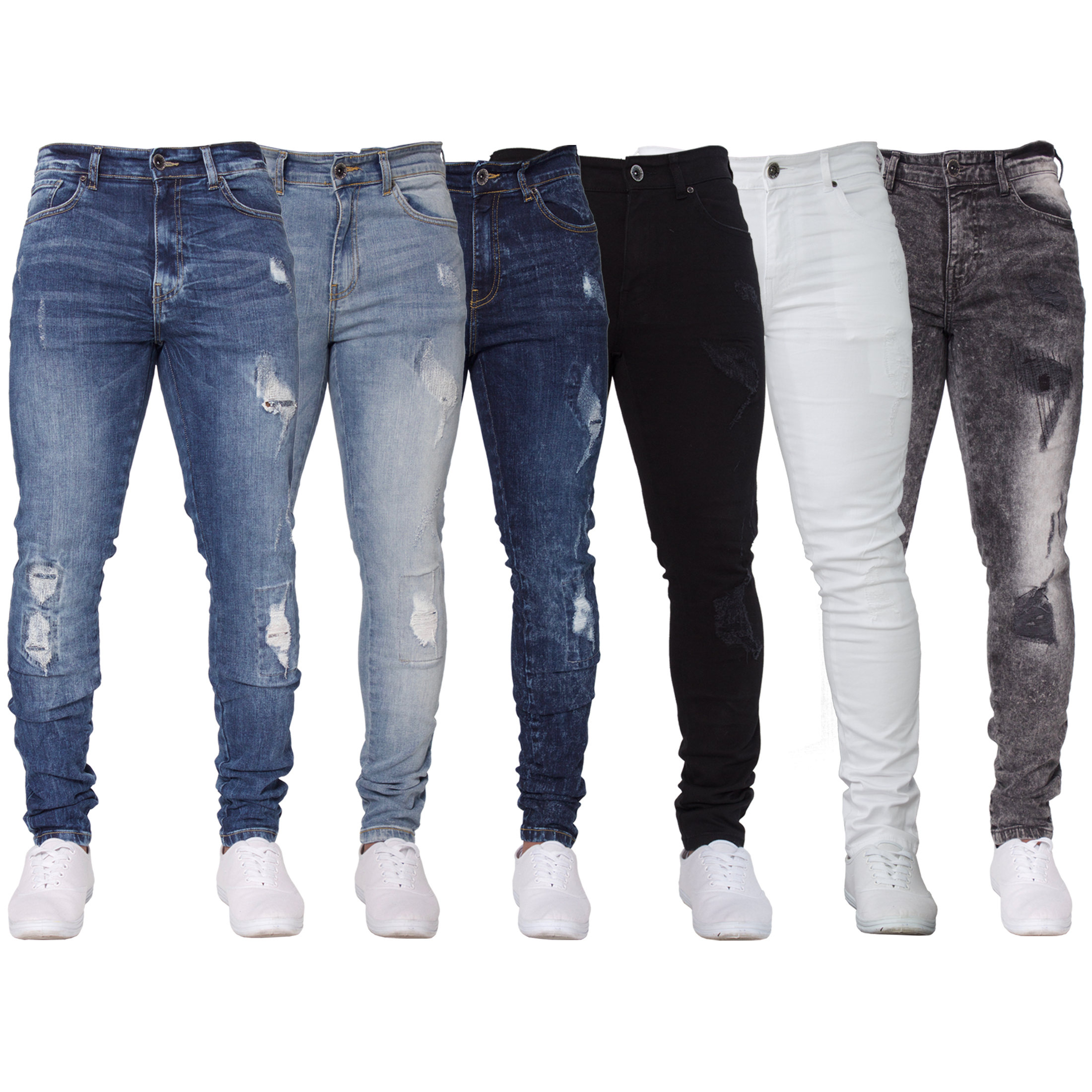New ENZO Mens Skinny Super Stretch Fit Ripped Denim Jeans ...