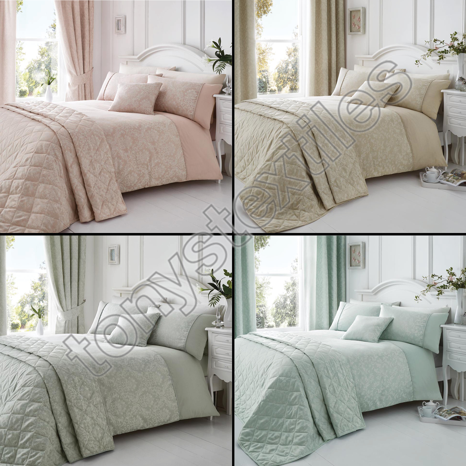 Elegant Floral Jacquard Cotton Rich Cream Pink Silver Bedspread Bed Bedcover Sentinel Throw Cover