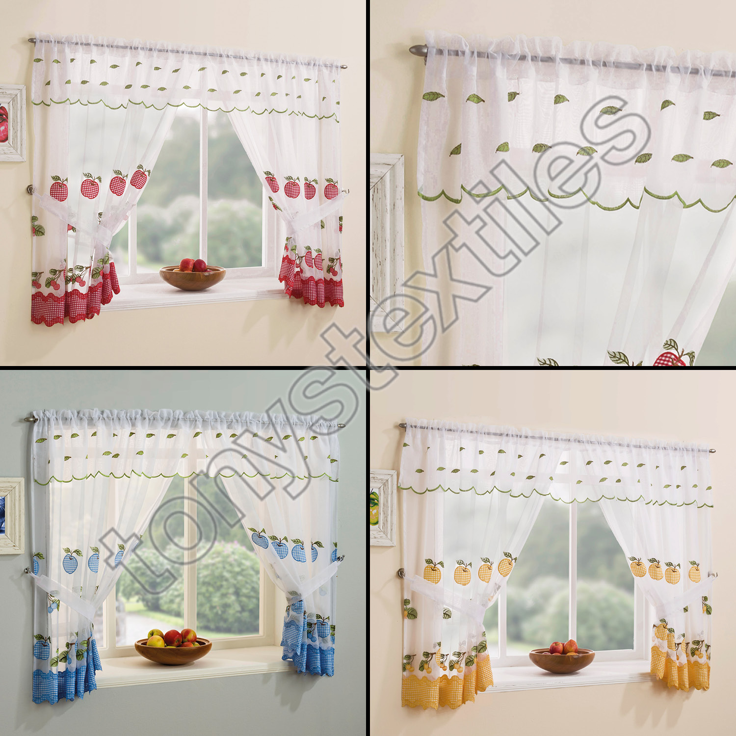 WINCHESTER KITCHEN WINDOW SET CURTAINS & TIE BACKS