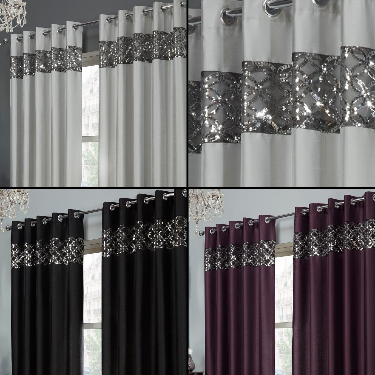 sequin sparkle rio faux silk eyelet ring top curtains. Black Bedroom Furniture Sets. Home Design Ideas
