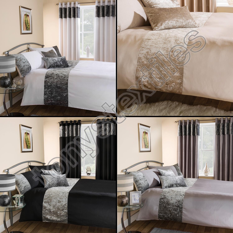 Luxury Crushed Velvet Quilt Duvet Bedding Set Cream Silver