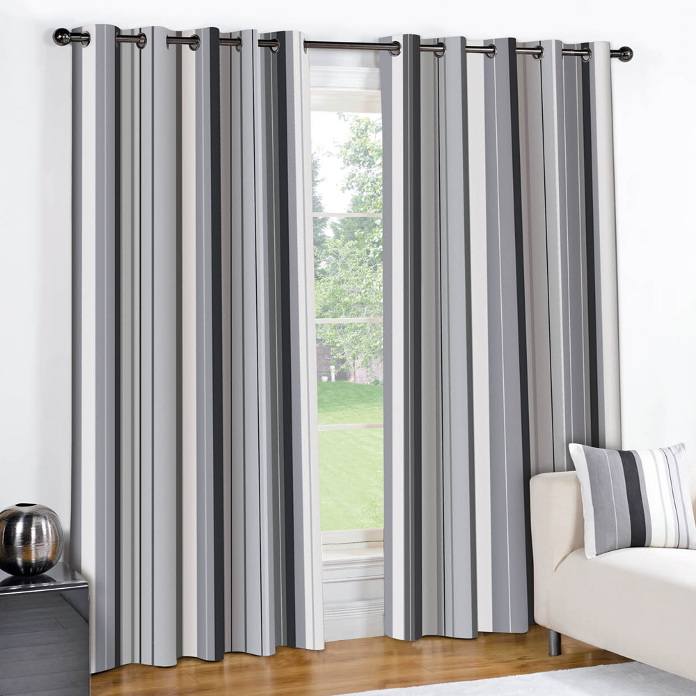 Grey White Striped Curtains: STRIPED RING TOP FULLY LINED PAIR EYELET READY MADE