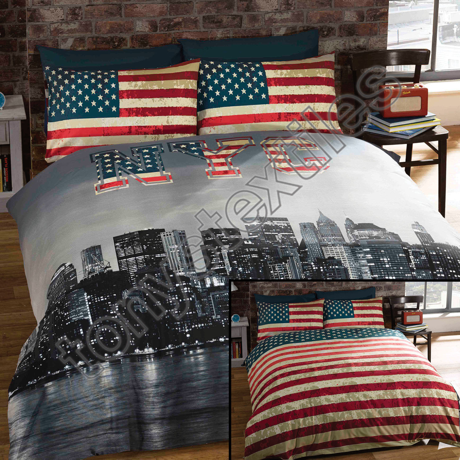 New York City Skyline American Flag Usa Reversible Quilt