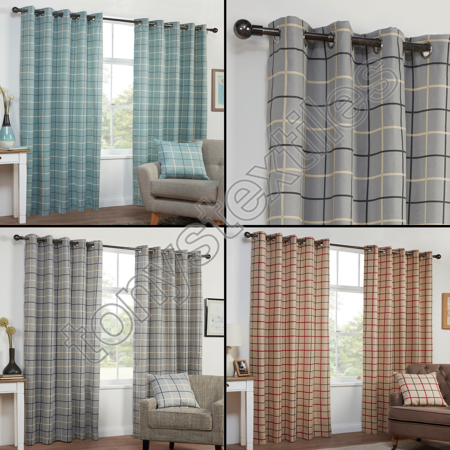 Frilled Kitchen Curtains Lined: TEXTURED CHECK STRIPED RING TOP LINED PAIR EYELET CURTAINS