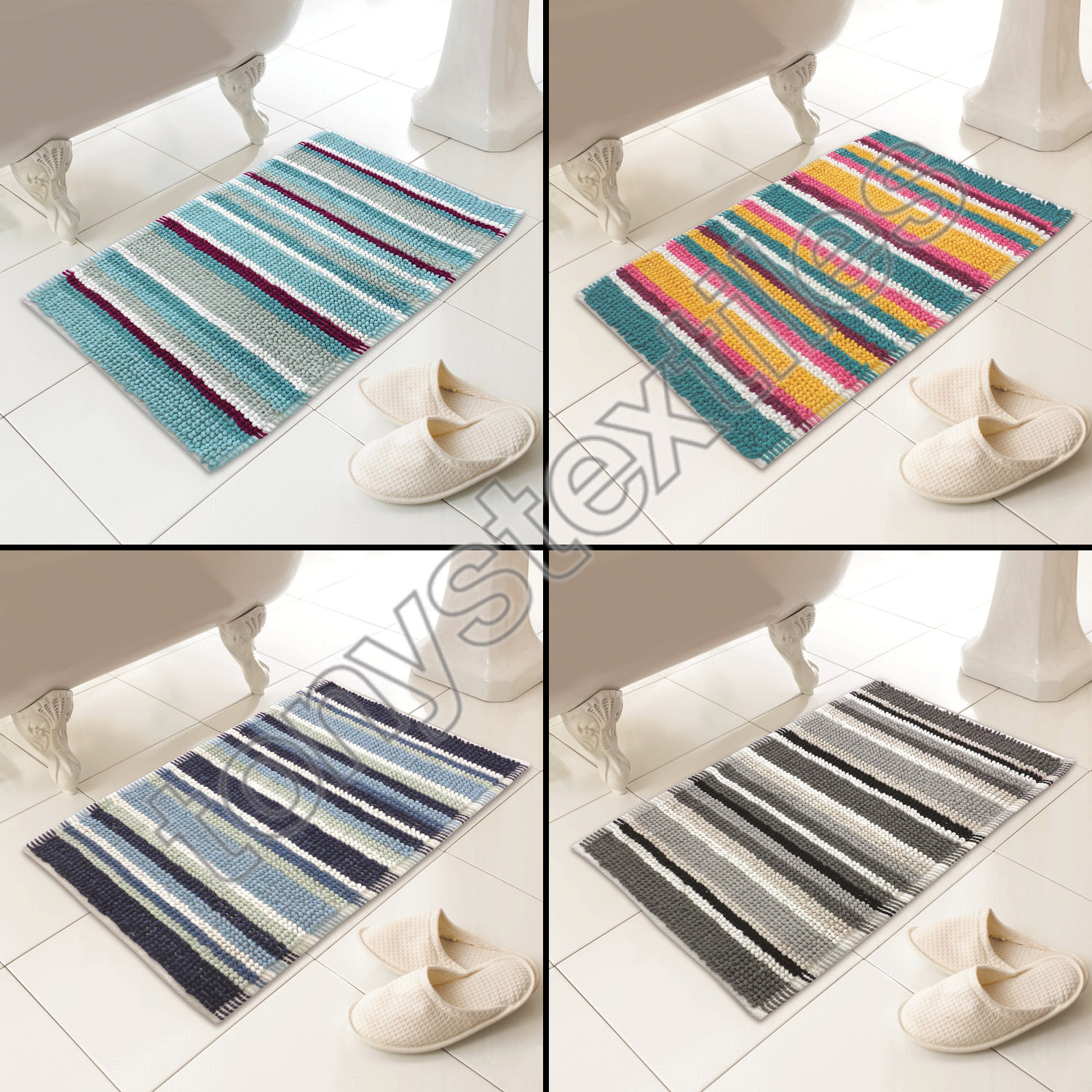 Chenille Soft Touch Microstripe Heavy Weight Bath Mat Rug