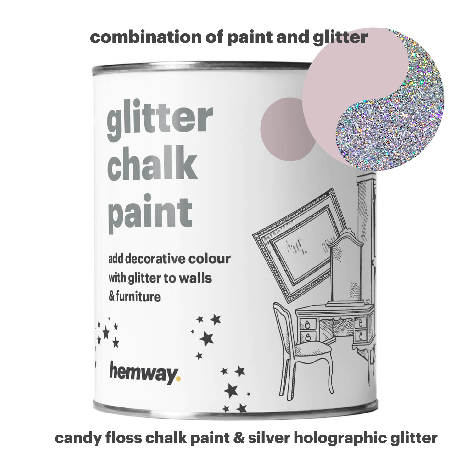 Details About Hemway Glitter Paint Wall Pink Candy Floss Furniture Ceiling Wallpaper Bedroom