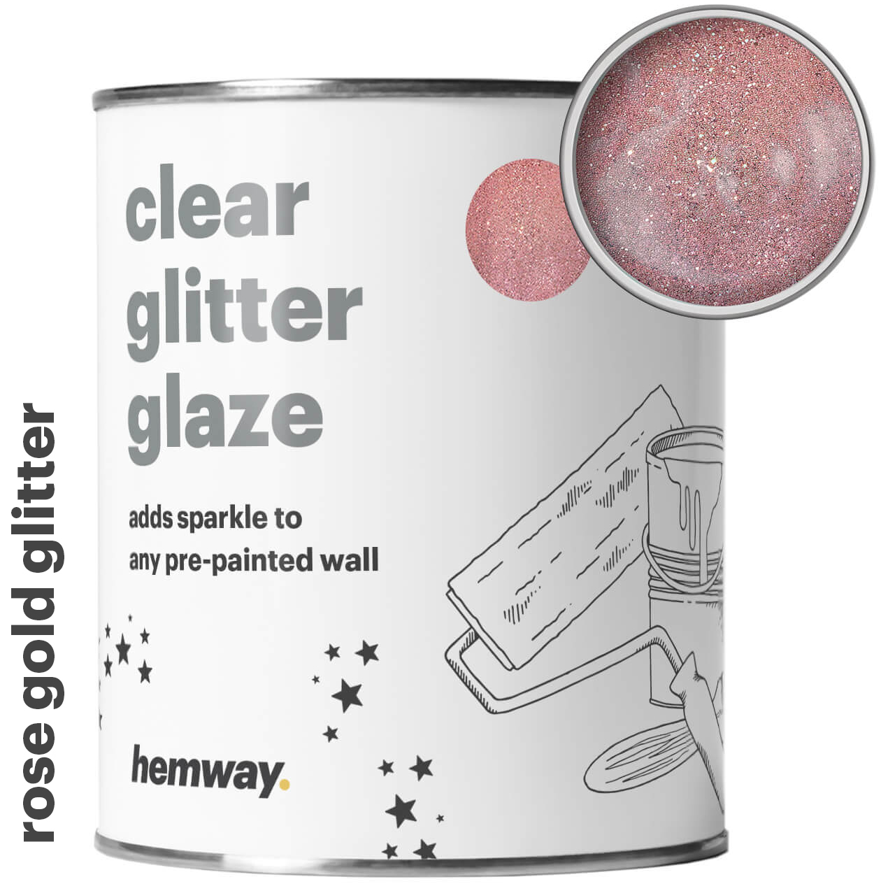 Details About Hemway Clear Glitter Paint Glaze Rose Gold For Pre Painted Walls Wallpaper