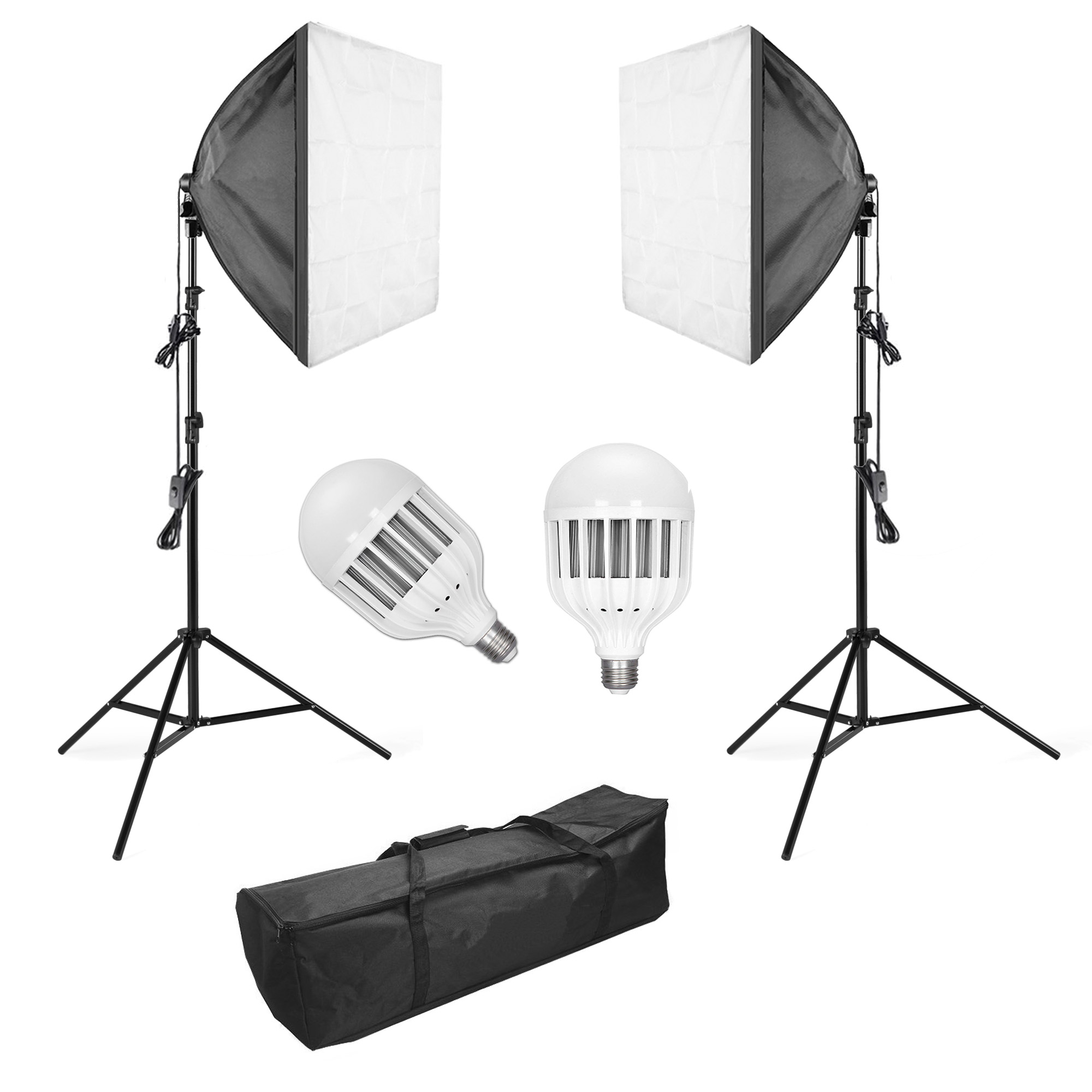 Details About 2 Led Softbox Lighting Kit Portable Continuous Photography Video Studio Lights