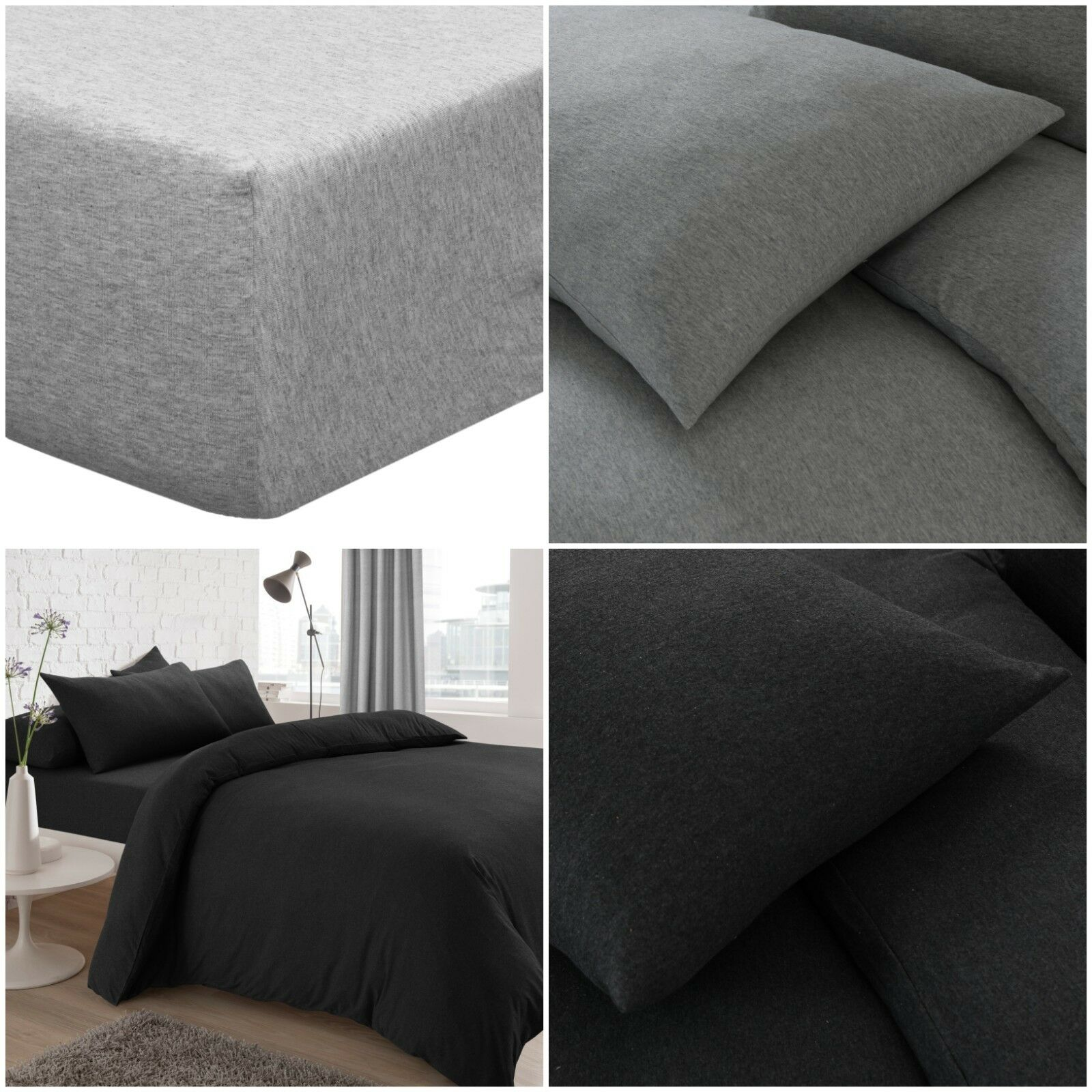 Polycotton Dyed Fitted Bed Sheet Single Double King Super King 4Ft Pillowcases