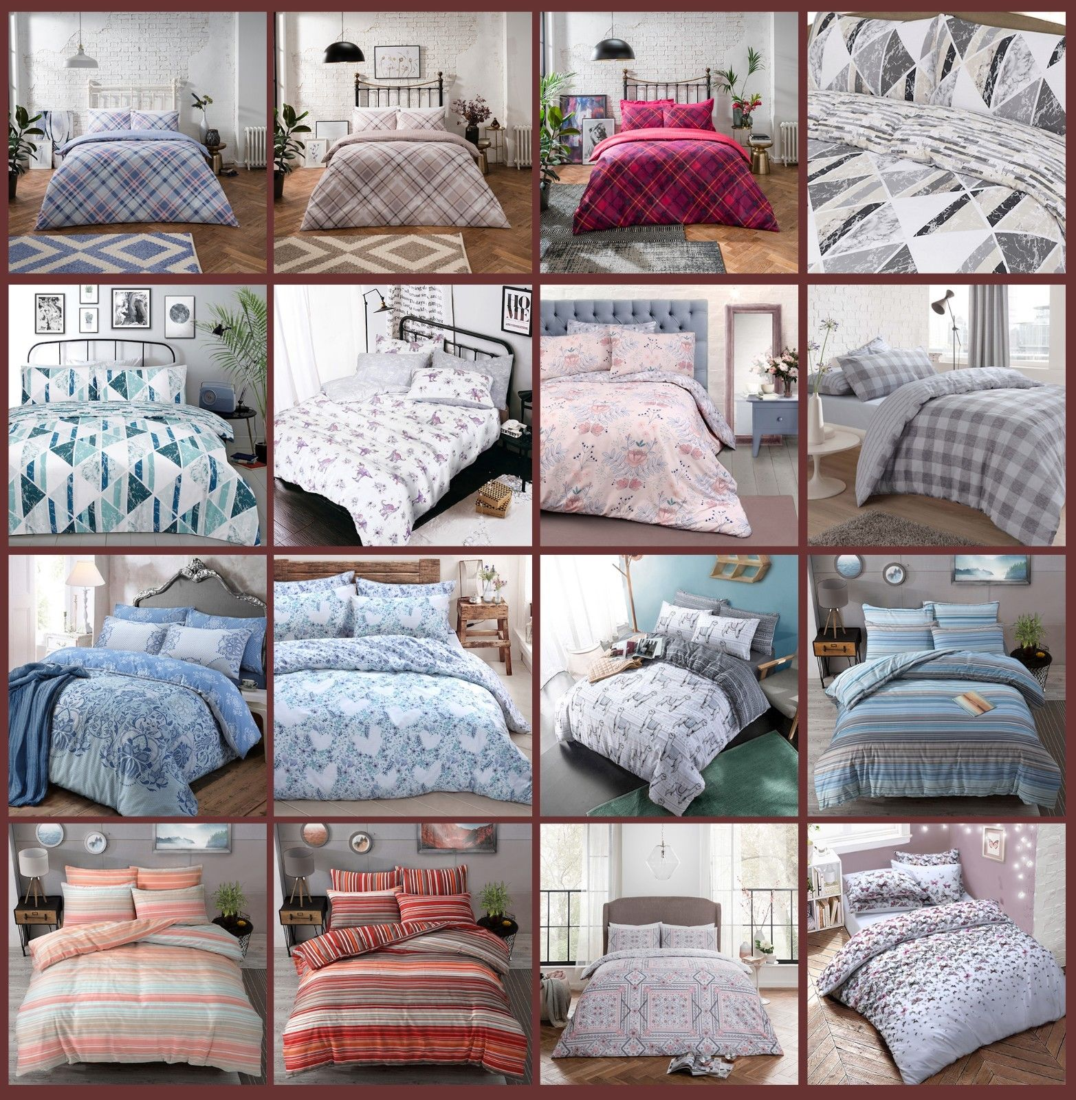 Leafy Love Flower Print Reversible Quilt Duvet Cover /& Pillow Case Bedding Set
