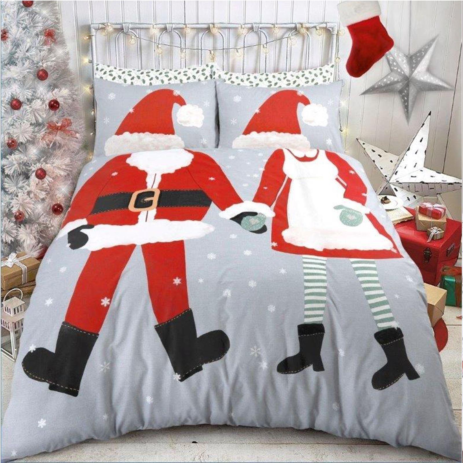 Sleepdown Christmas Santa Reversible Duvet Quilt Cover And Pillowcases Set Christmas Chalk Board Indigo,Double