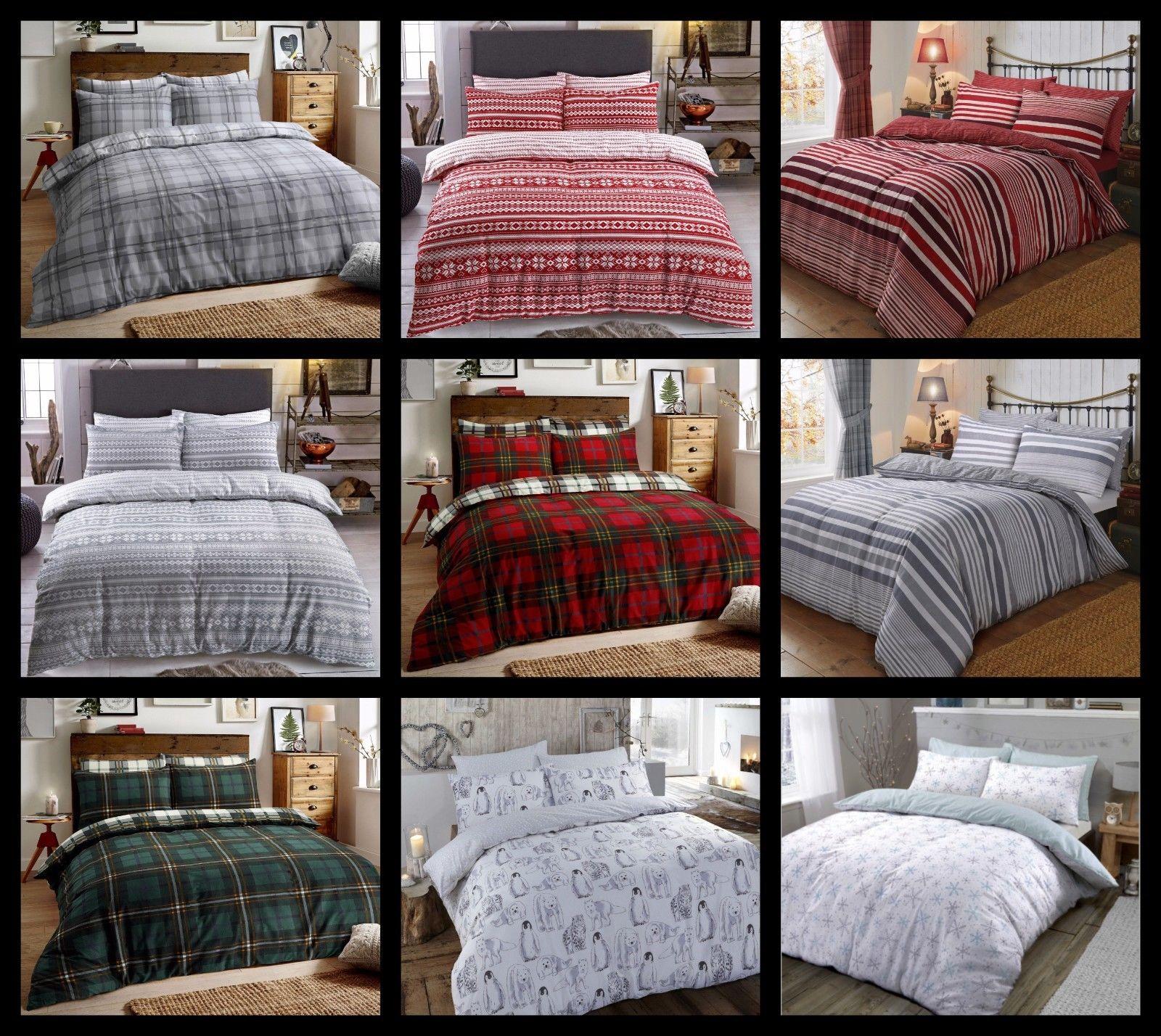 100/% Brushed Cotton Bonton Flannel Flannelette Warm Duvet Quilt Cover Bed Set