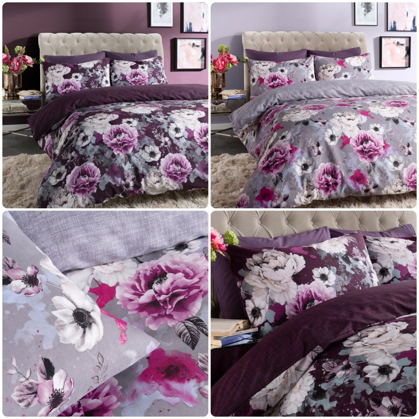 Inky Floral Grey & Purple Duvet Cover Single Double King All Sizes